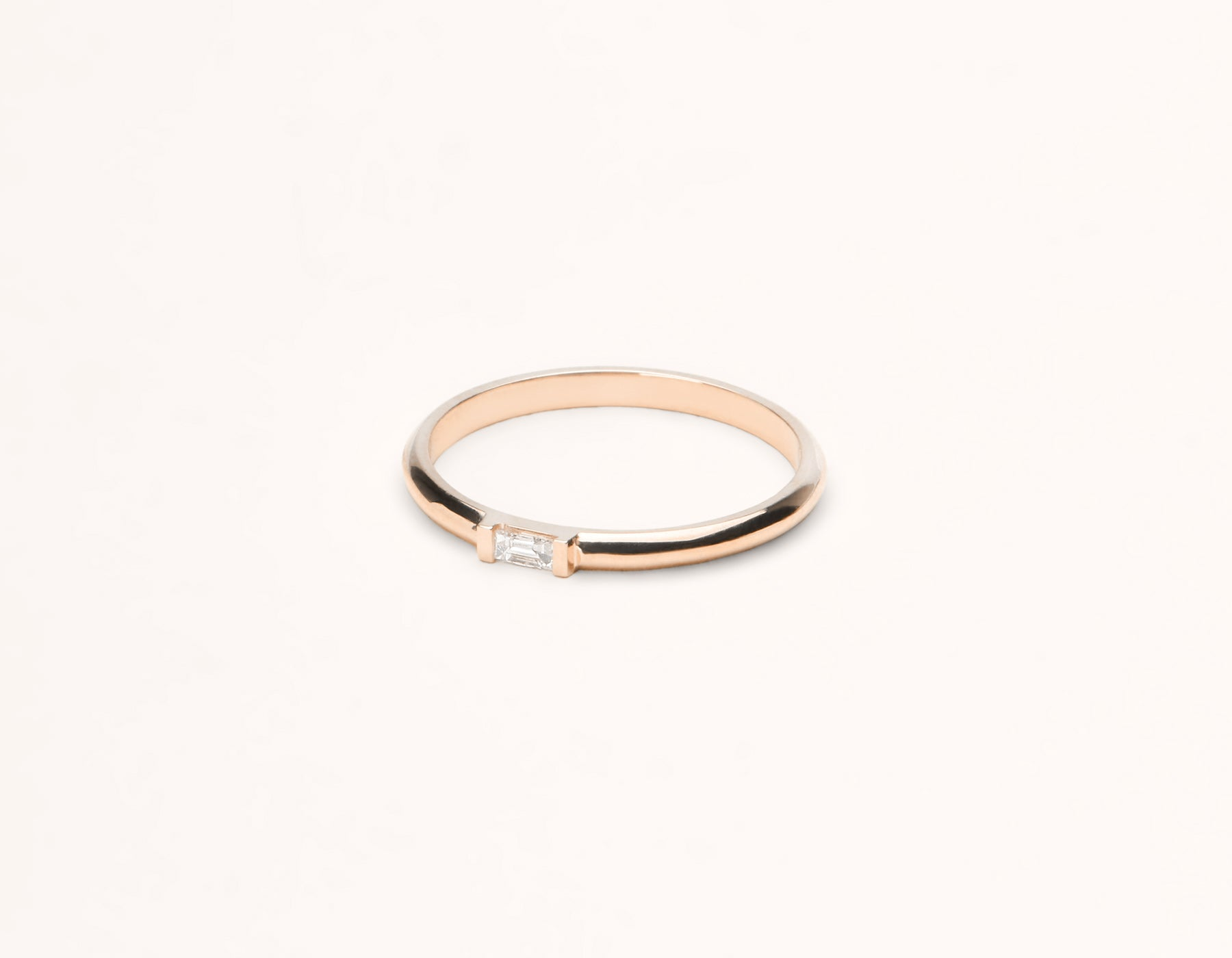 Sleek Minimalist 14k solid gold Baguette Diamond Ring with rounded band by Vrai and Oro, 14K Rose Gold