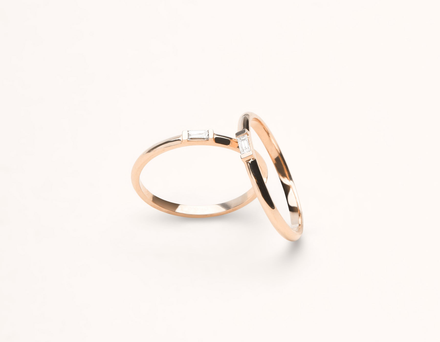 Modern Minimalist 14k solid gold Baguette Diamond Ring pair band by Vrai and Oro, 14K Rose Gold