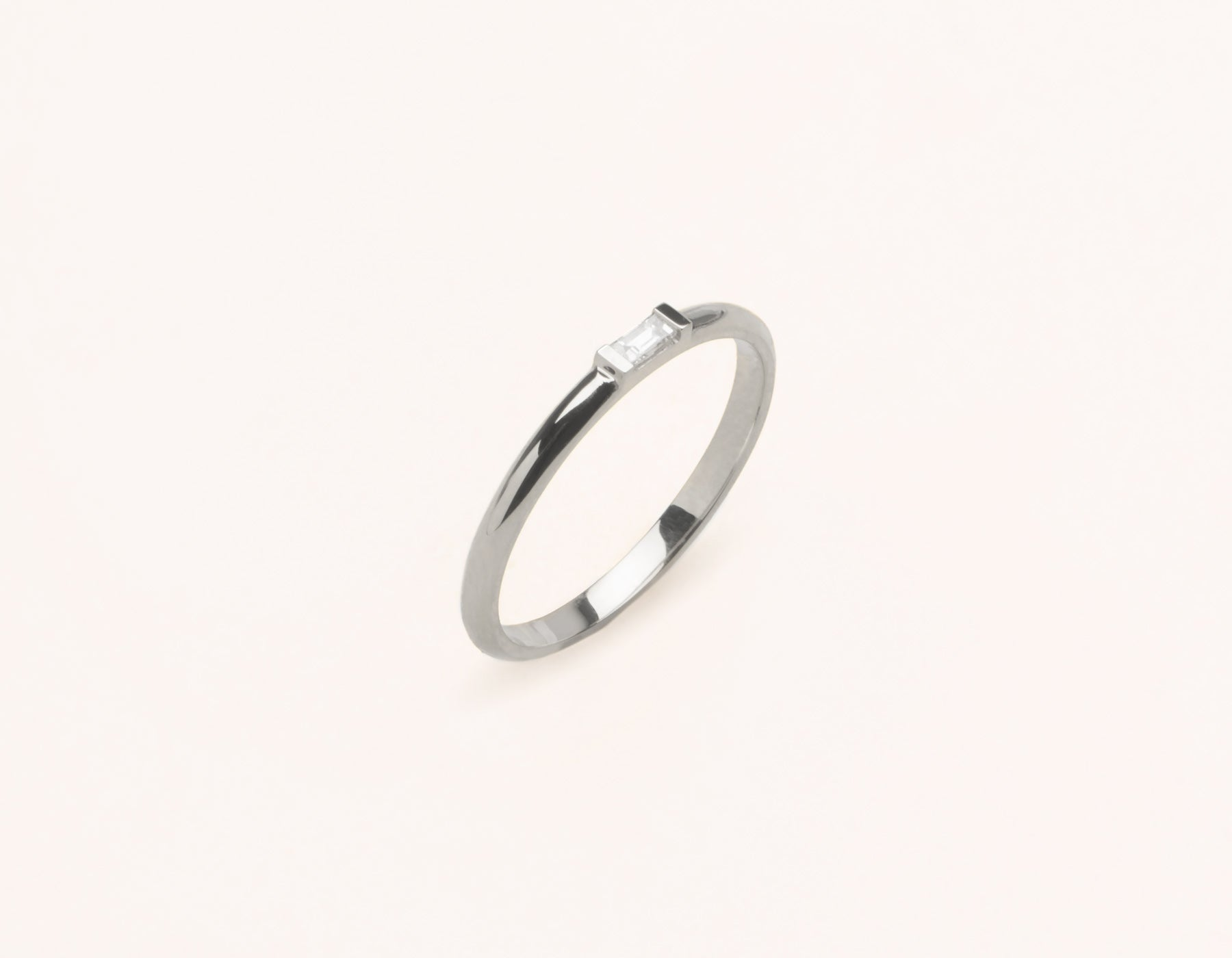 Simple stylish 14k Solid gold Baguette Diamond Ring with streamlined channel setting by Vrai & Oro, 14K White Gold