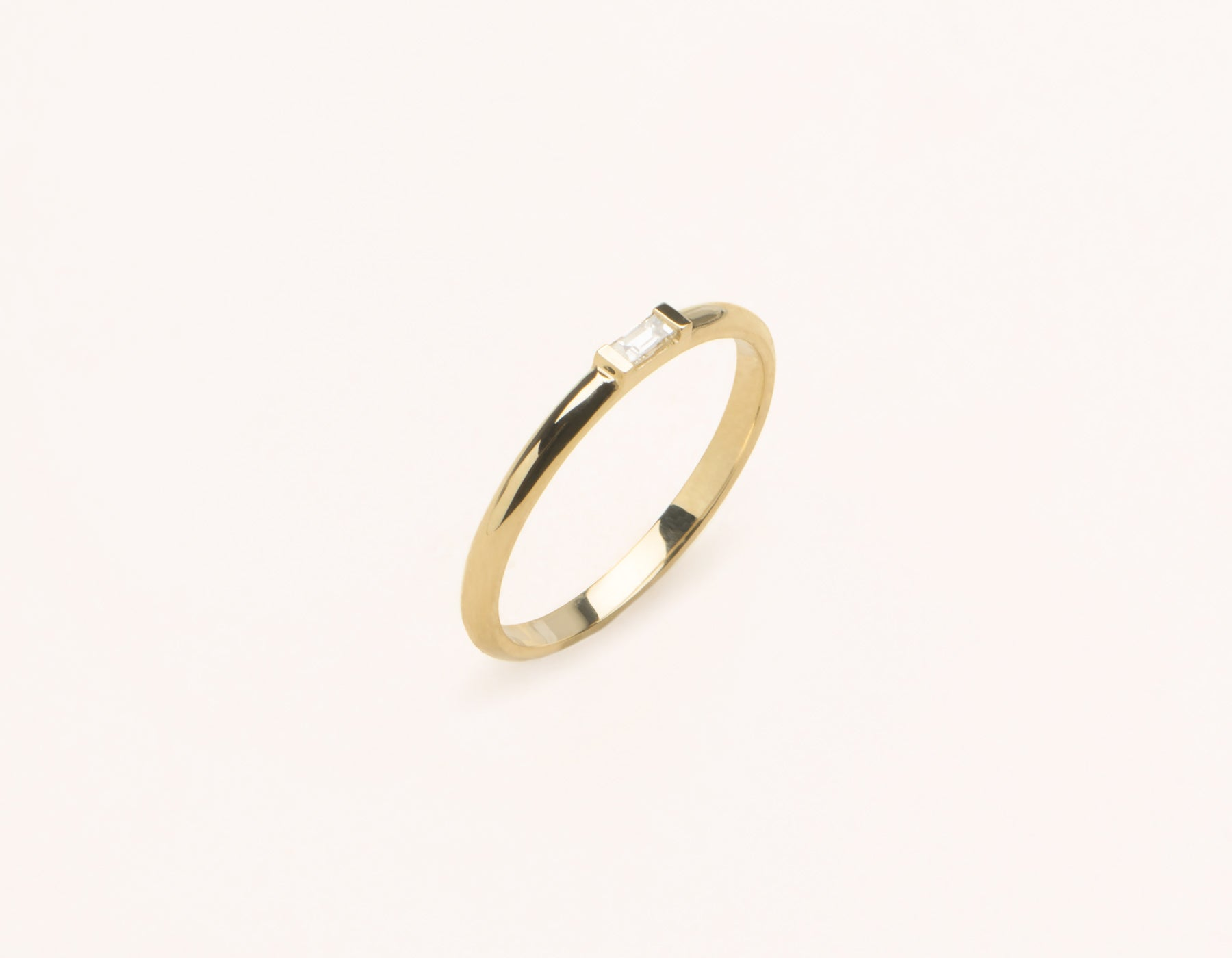 Simple stylish 14k Solid gold Baguette Diamond Ring with streamlined channel setting by Vrai & Oro, 14K Yellow Gold