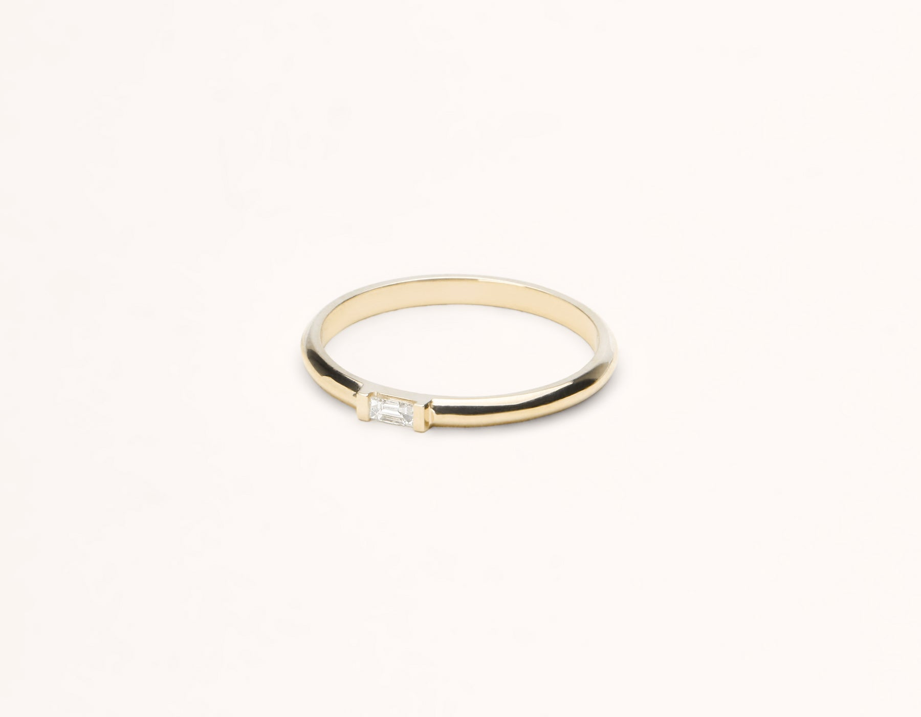 Sleek Minimalist 14k solid gold Baguette Diamond Ring with rounded band by Vrai and Oro, 14K Yellow Gold