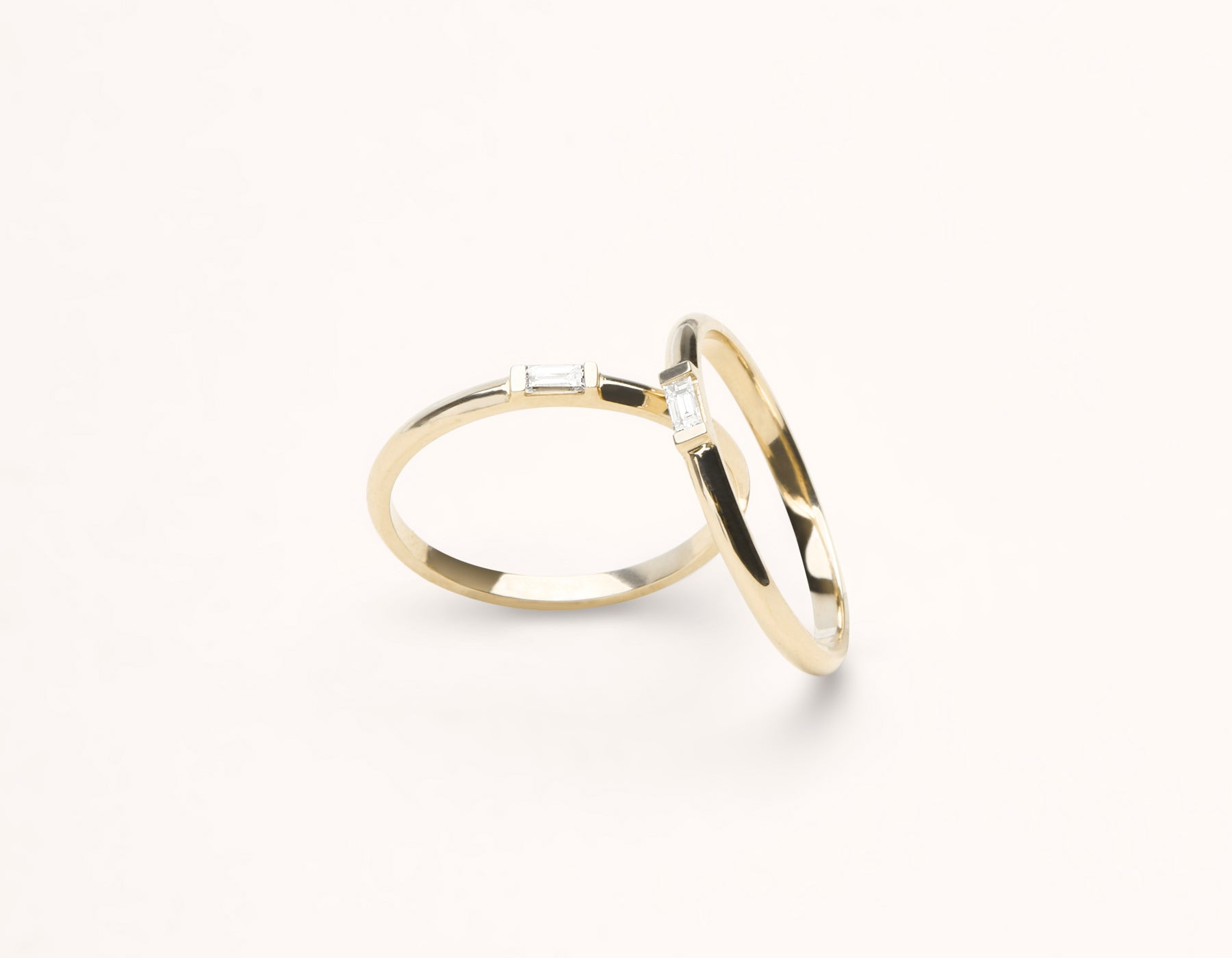 Modern Minimalist 14k solid gold Baguette Diamond Ring pair band by Vrai and Oro, 14K Yellow Gold