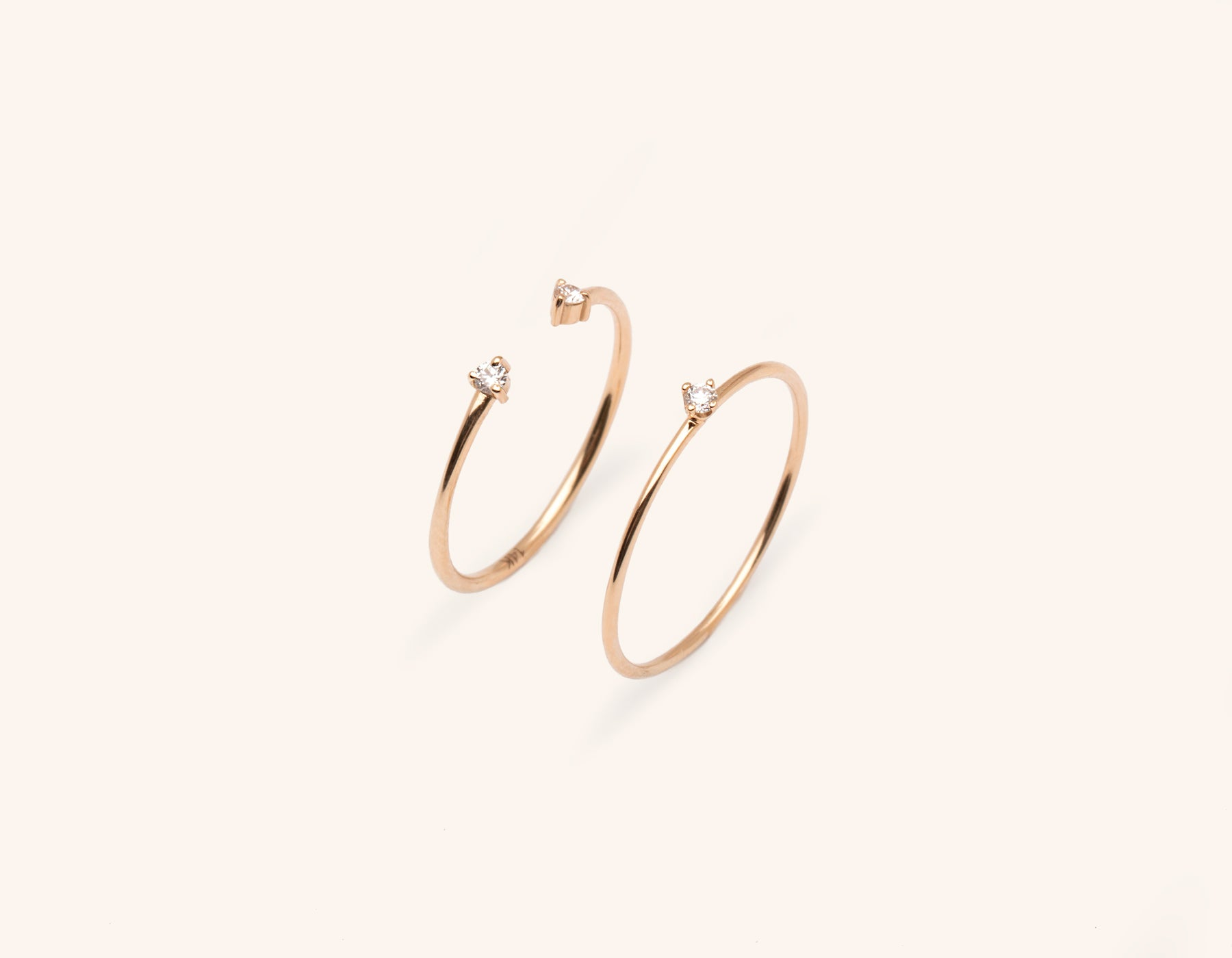 Vrai and Oro simple elegant solid gold Constellation Ring Bundle Stack small round diamond stacker with diamond dot cuff ring, 14K Rose Gold