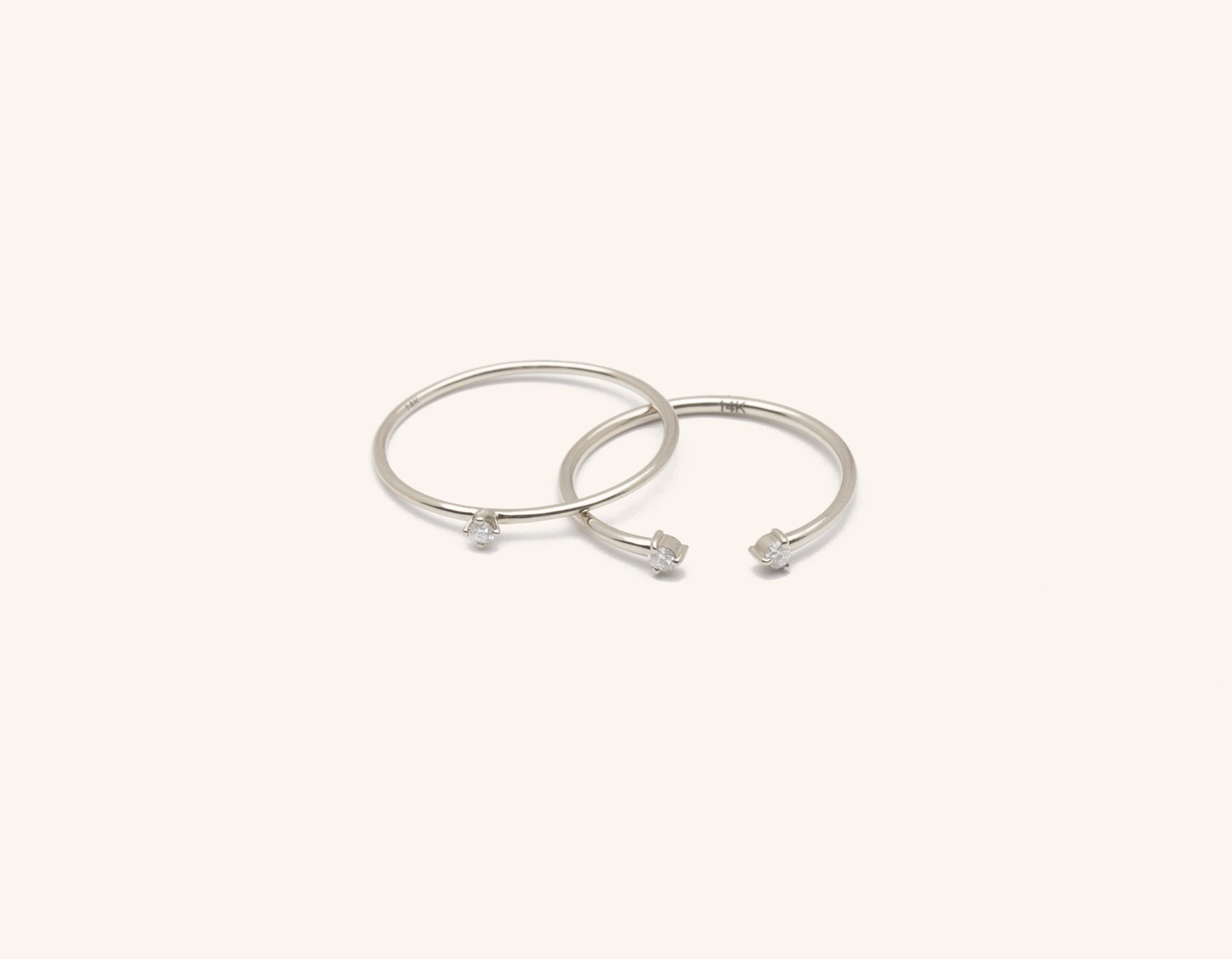 Solid 14K gold Constellation Stack diamond ring bundle by Vrai & Oro minimalist classic sustainable jewelry, 14K White Gold