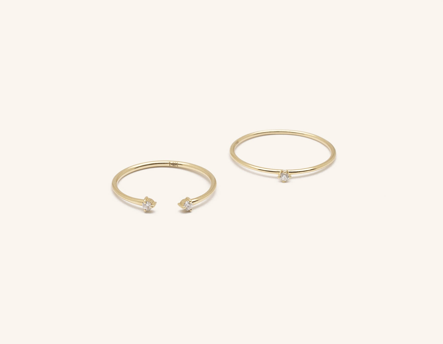 Vrai & Oro modern minimalist Diamond Constellation Stack rings round stacker with diamond dot cuff, 14K Yellow Gold