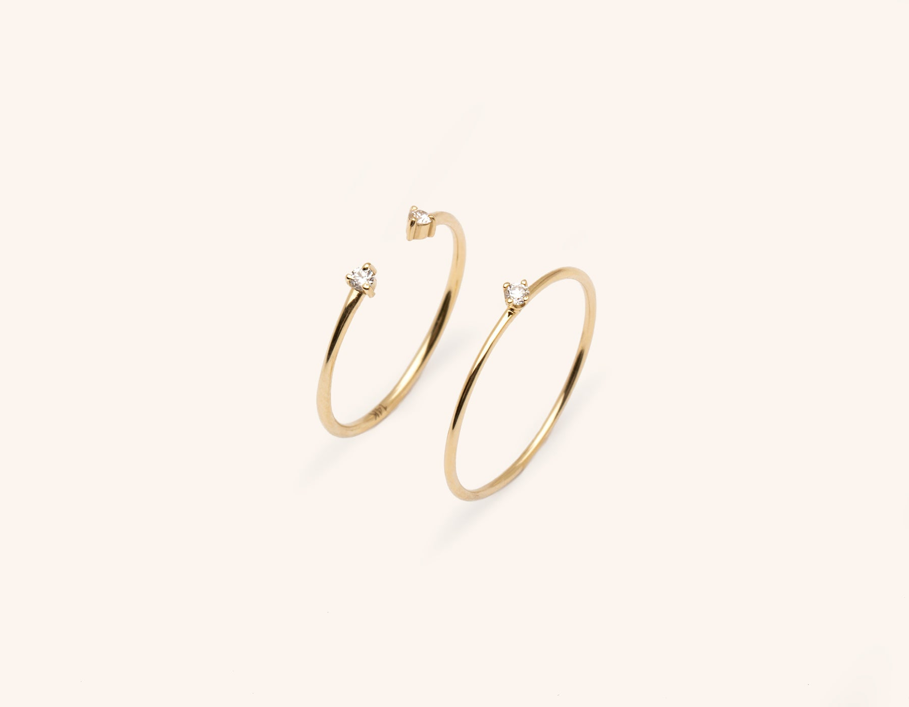 Vrai and Oro simple elegant solid gold Constellation Ring Bundle Stack small round diamond stacker with diamond dot cuff ring, 14K Yellow Gold