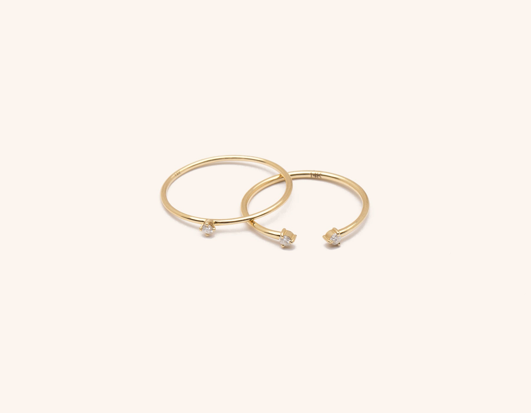 Solid 14K gold Constellation Stack diamond ring bundle by Vrai & Oro minimalist classic sustainable jewelry, 14K Yellow Gold