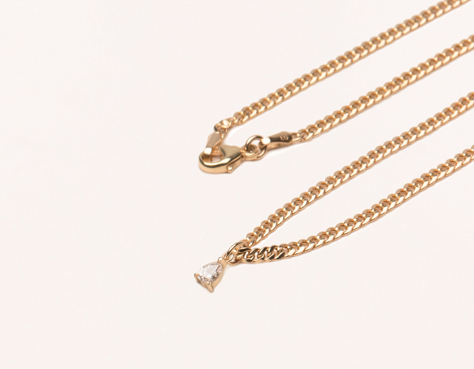 Simple Classic 14K Solid Gold Pear Diamond Pendant on thick Cuban Link chain with lobster clasp Vrai & oro, 14K Rose Gold