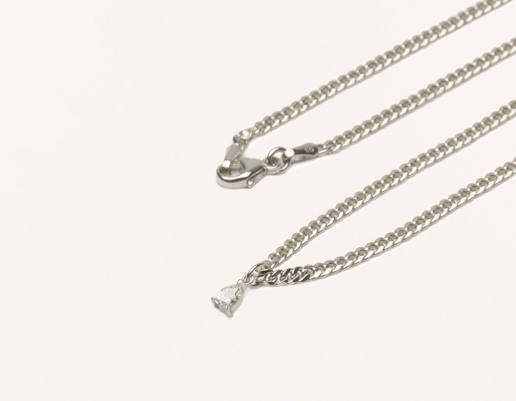 Simple Classic 14K Solid Gold Pear Diamond Pendant on thick Cuban Link chain with lobster clasp Vrai & oro, 14K White Gold