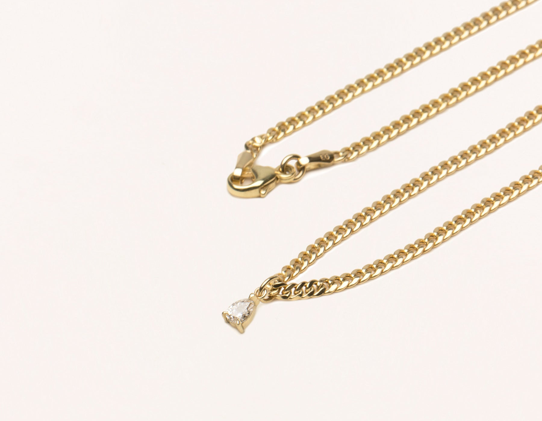 Simple Classic 14K Solid Gold Pear Diamond Pendant on thick Cuban Link chain with lobster clasp Vrai & oro, 14K Yellow Gold