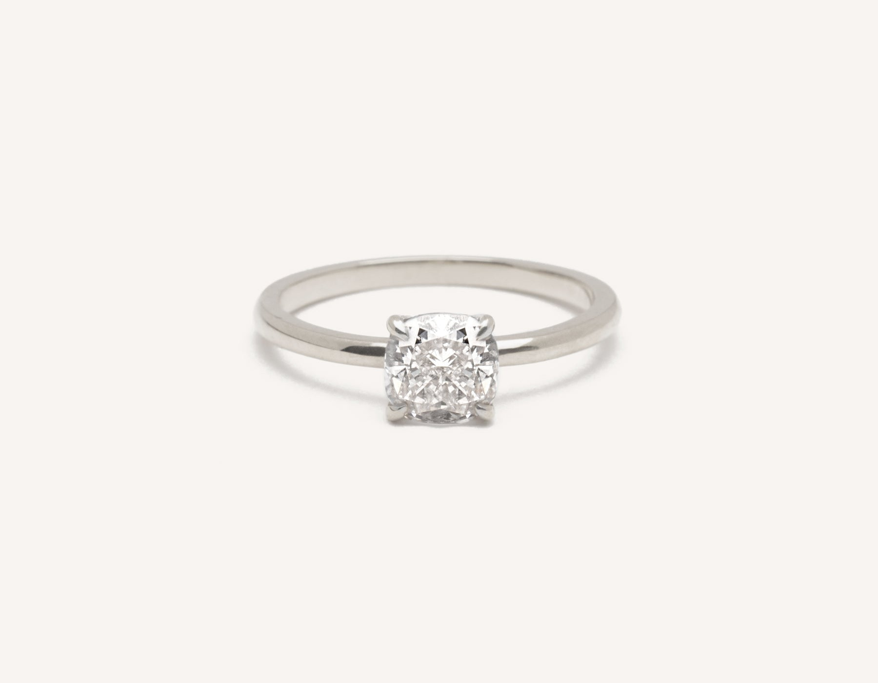 Vrai and Oro modern classic The Cushion diamond engagement ring platinum sustainable jewelry