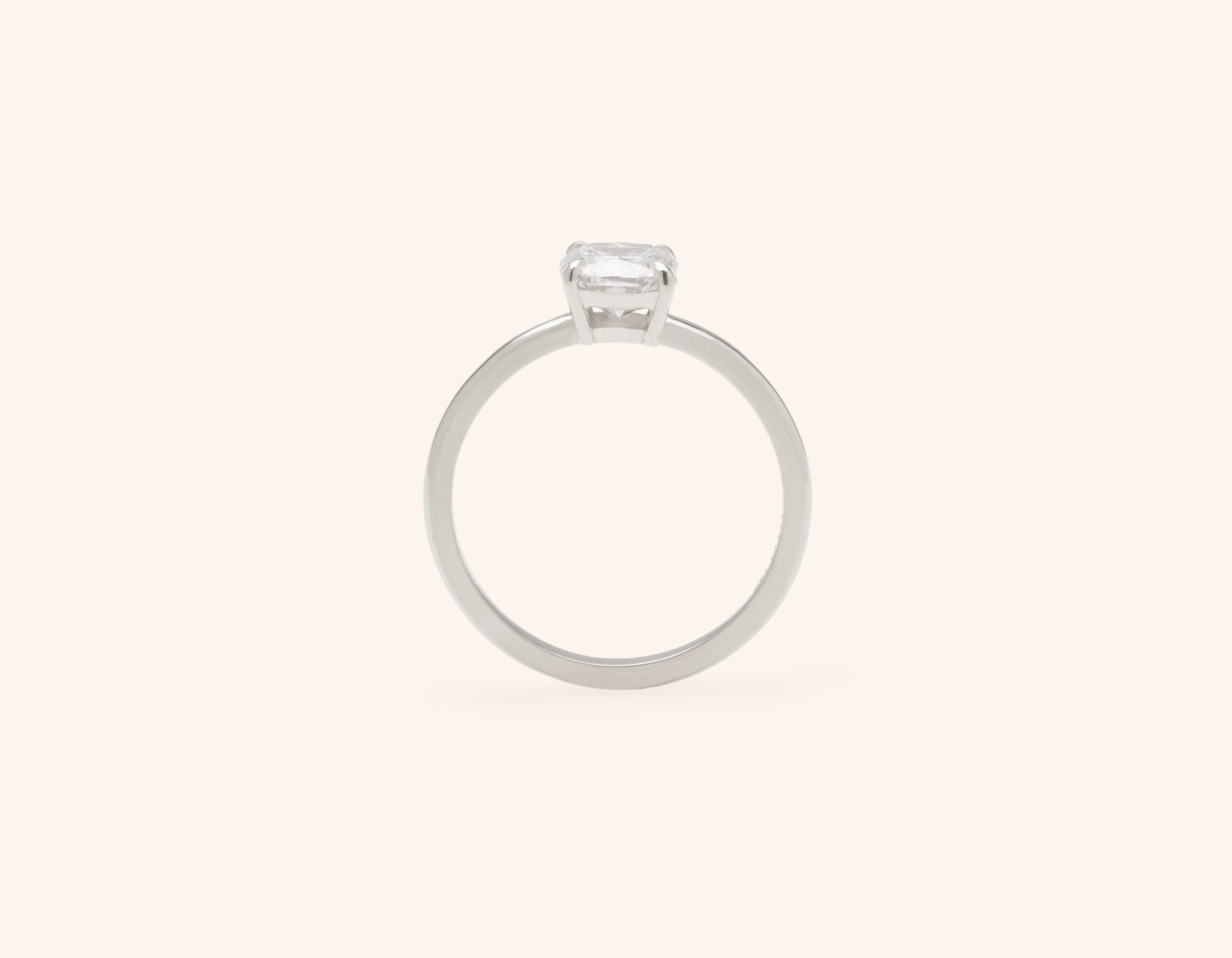 Vrai & Oro platinum Diamond engagement ring The Cushion simple classic band