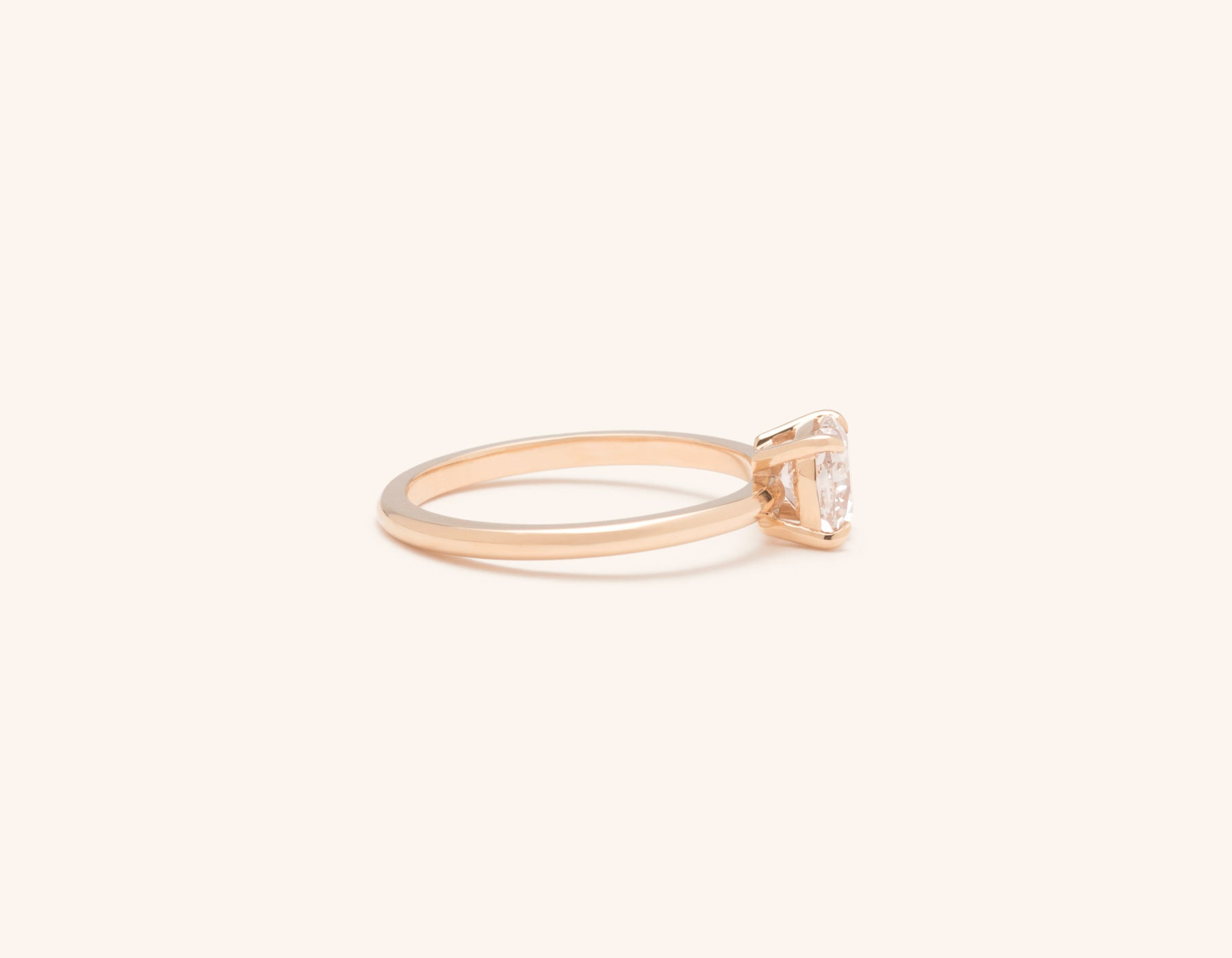Simple modern 18k solid rose gold 1 carat Cushion diamond engagement ring Vrai & Oro