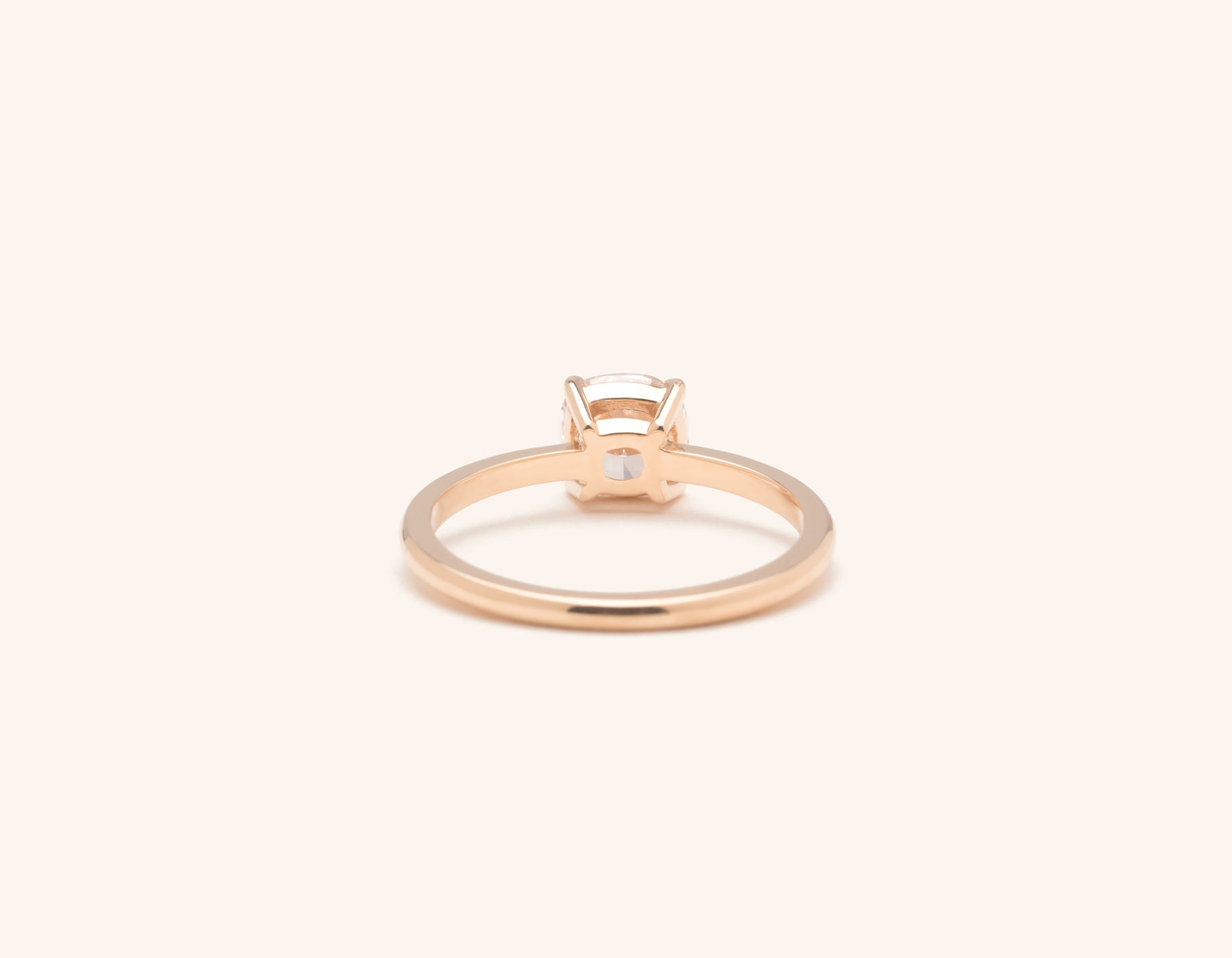 Vrai & Oro 18k solid rose gold Diamond engagement ring The Cushion simple classic band