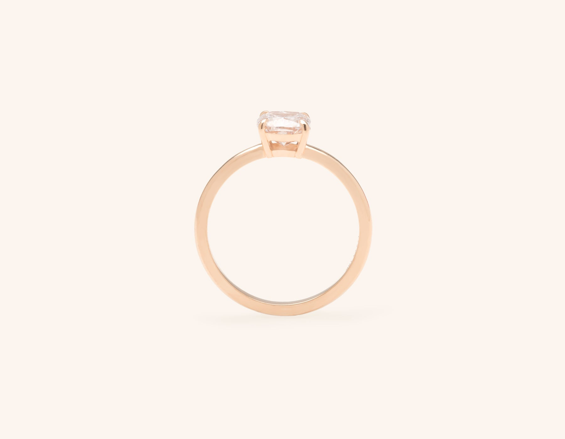 Vrai and Oro modern classic The Cushion diamond engagement ring 18k solid rose gold sustainable jewelry