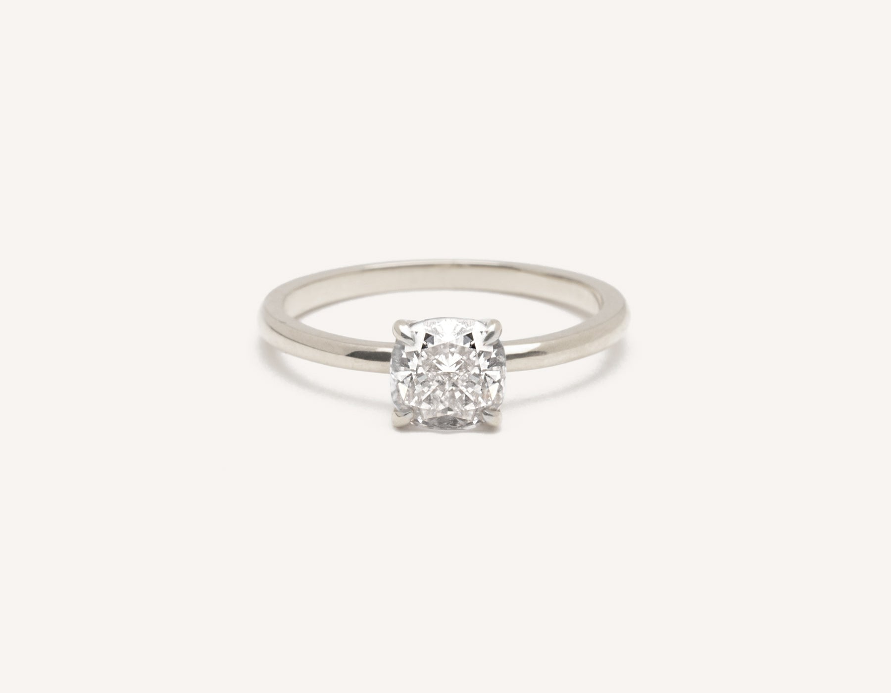 Minimalist 18k solid white gold The Cushion engagement ring 1 ct diamond Vrai and Oro