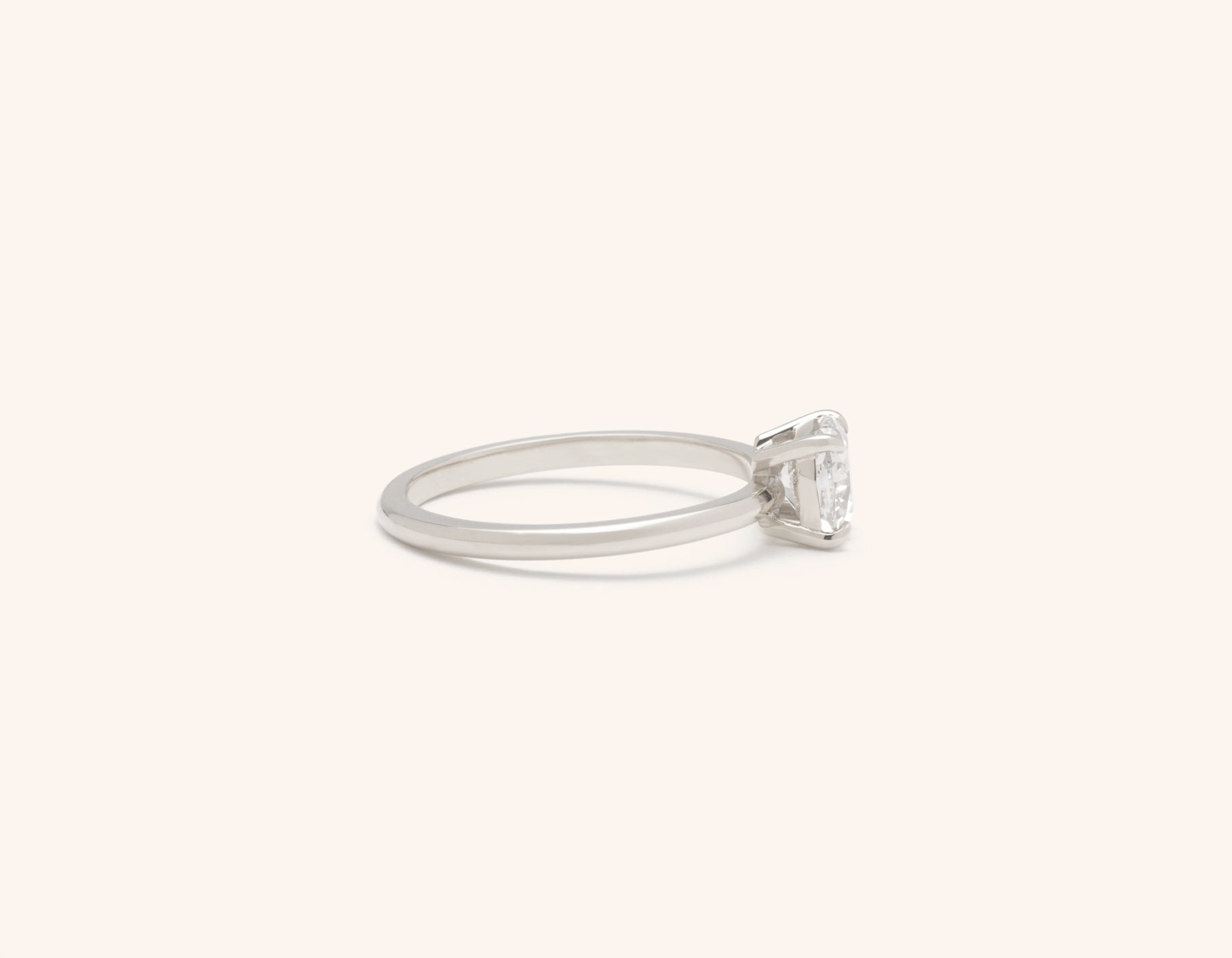 Simple modern 18k solid white gold 1 carat Cushion diamond engagement ring Vrai & Oro