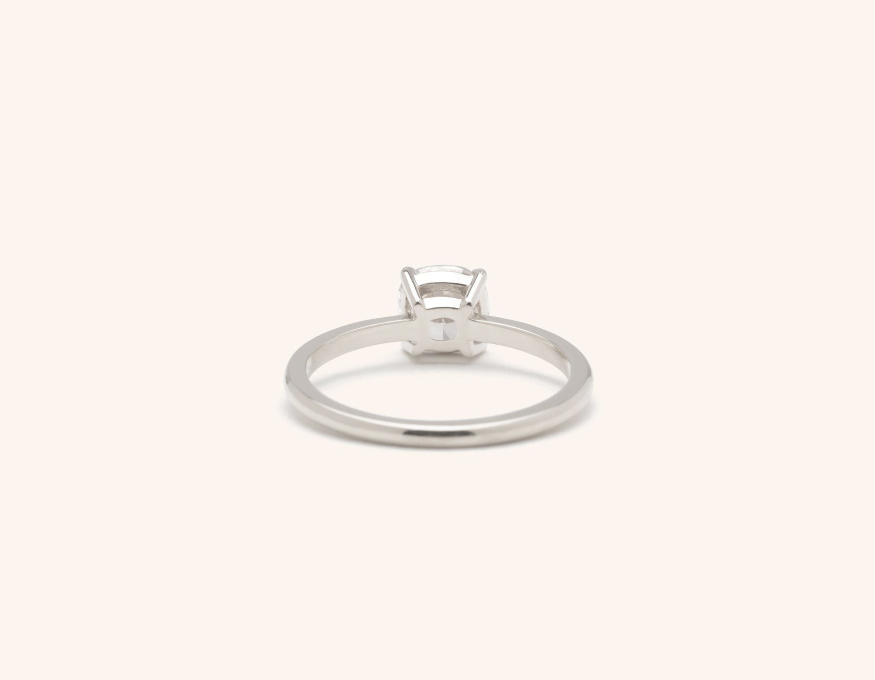 Vrai & Oro 18k solid white gold Diamond engagement ring The Cushion simple classic band