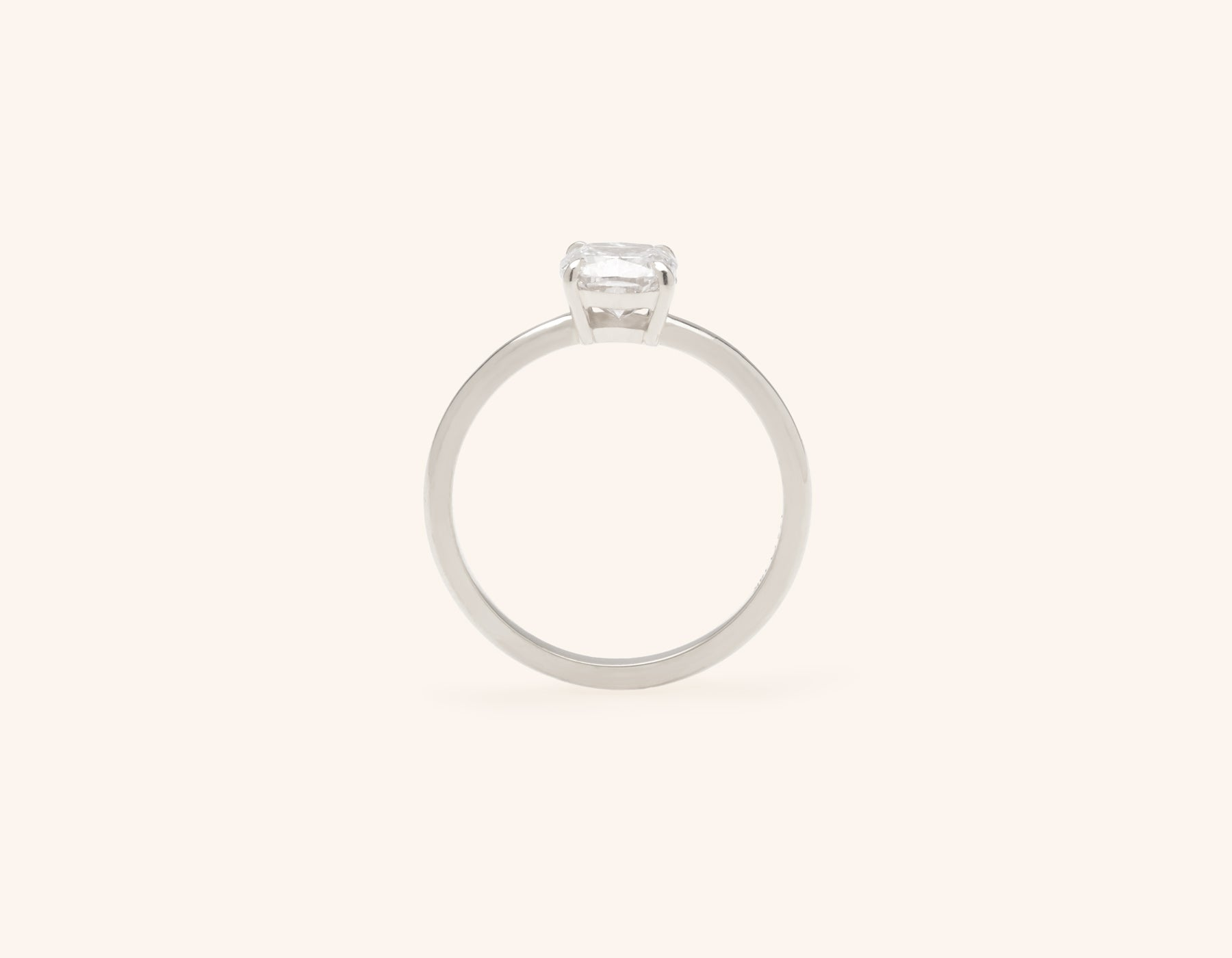 Vrai and Oro modern classic The Cushion diamond engagement ring 18k solid white gold sustainable jewelry