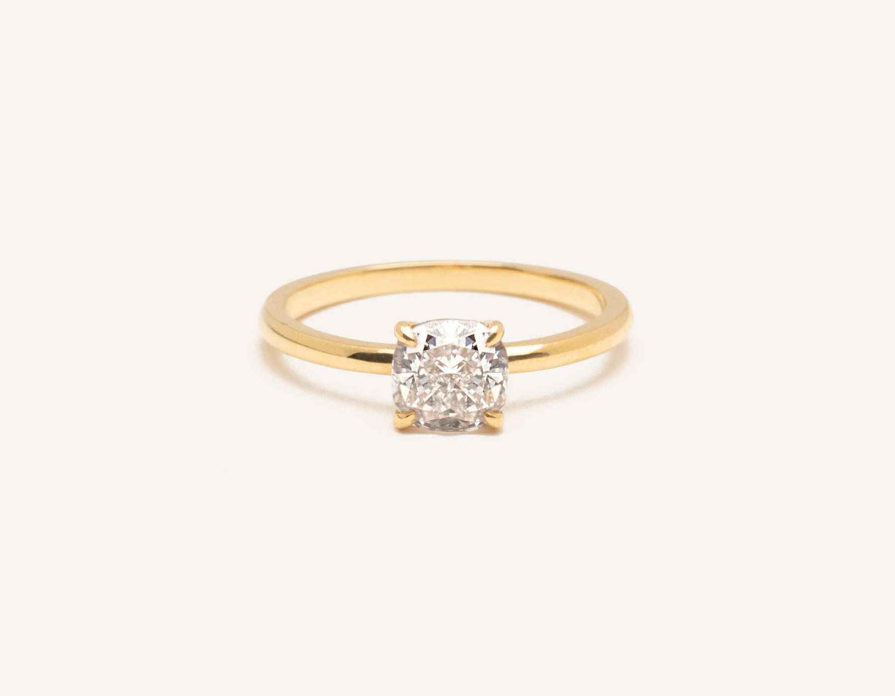 Minimalist 18k solid yellow gold The Cushion engagement ring 1 ct diamond Vrai and Oro