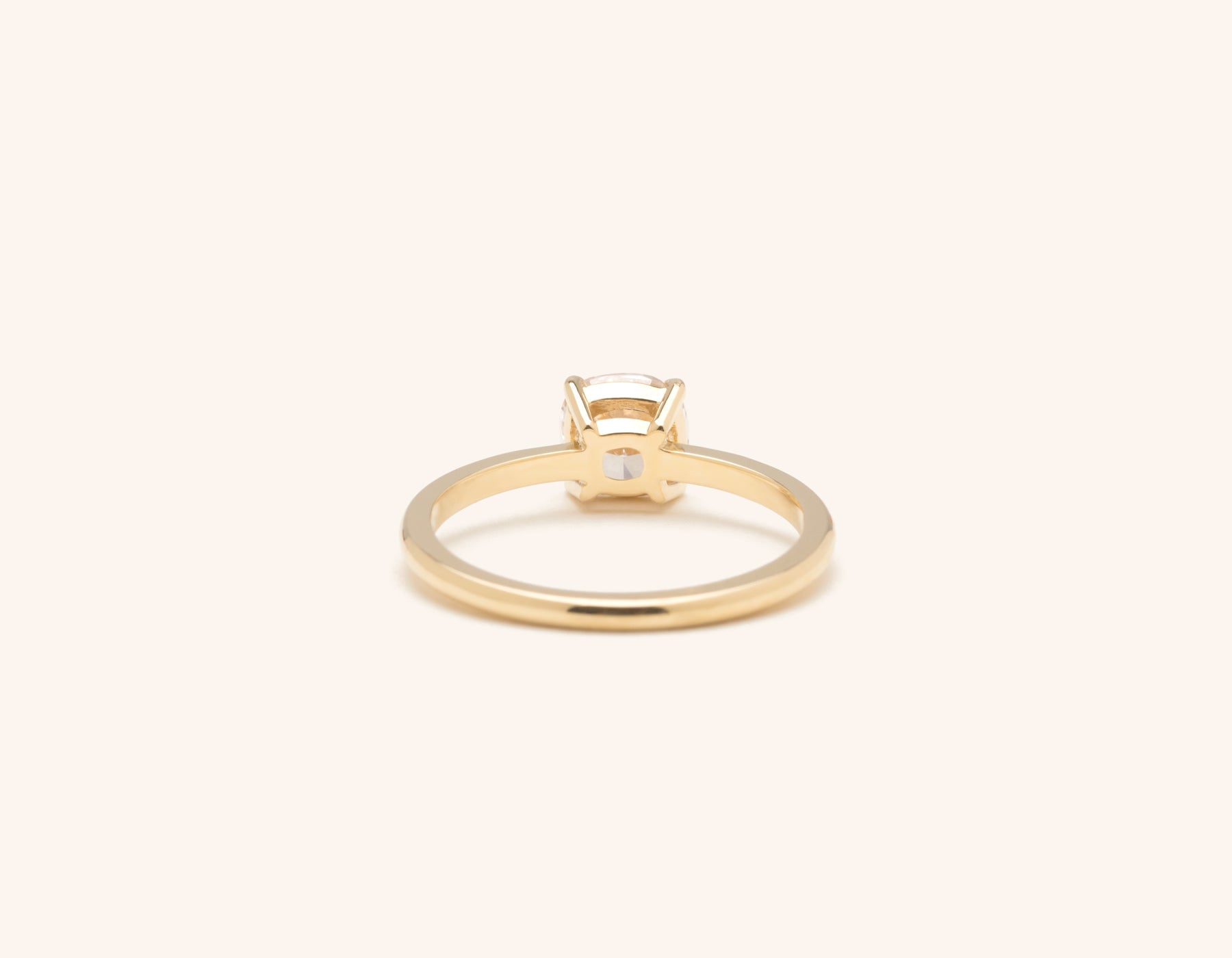 Vrai & Oro 18k solid yellow gold Diamond engagement ring The Cushion simple classic band
