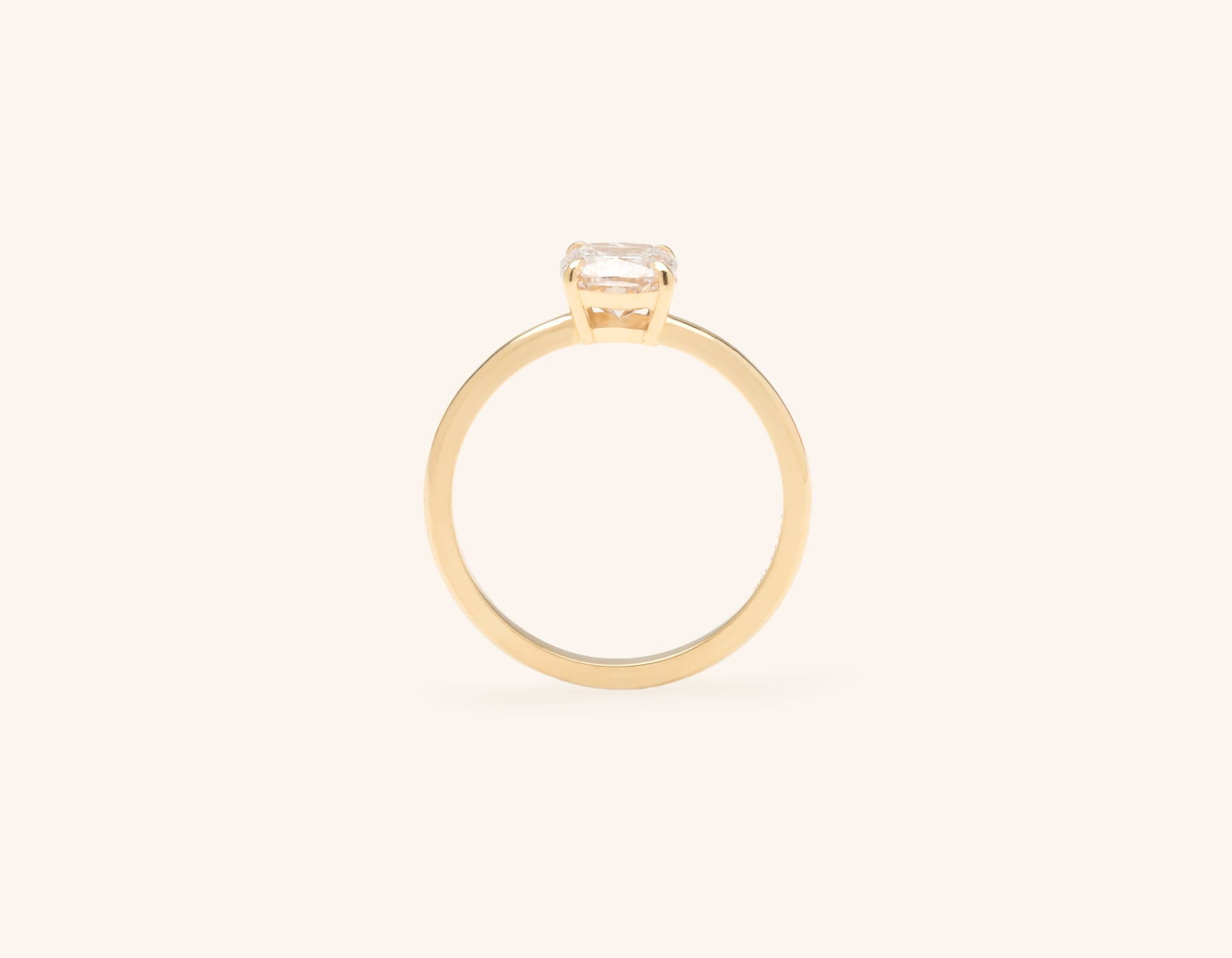 Vrai and Oro modern classic The Cushion diamond engagement ring 18k solid yellow gold sustainable jewelry