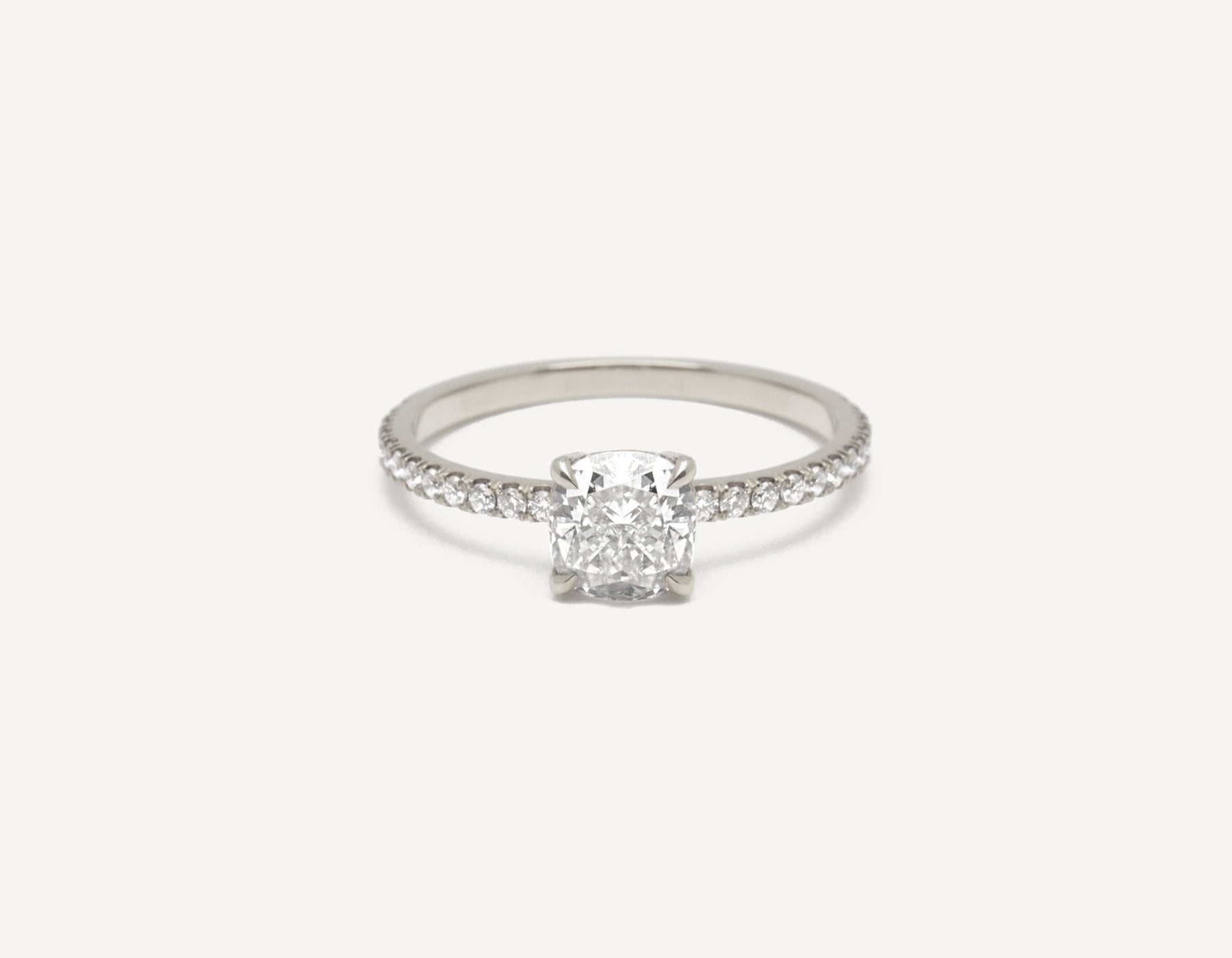 Minimalist platinum The Cushion Pave engagement ring 1 ct diamond Vrai and Oro