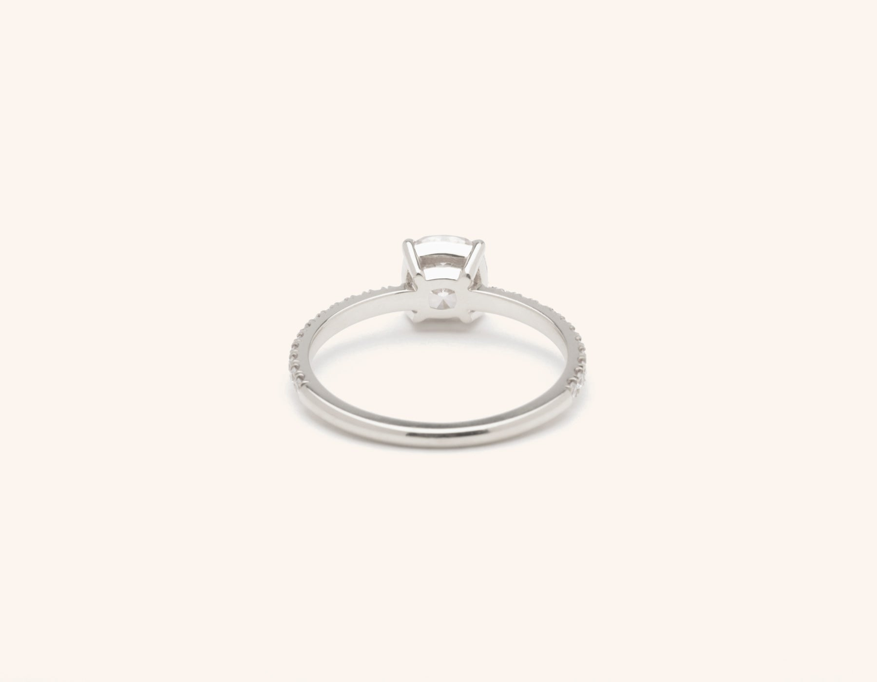 Vrai & Oro platinum Diamond engagement ring The Cushion pave simple classic band