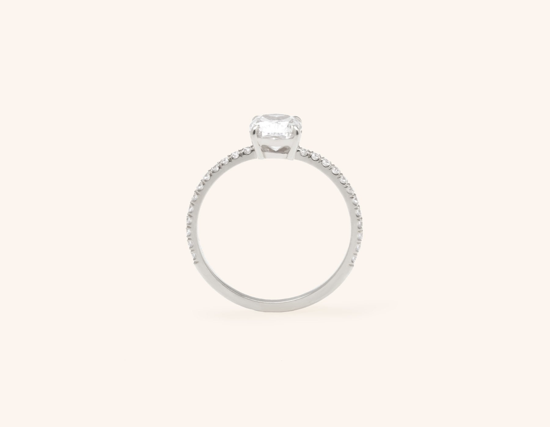 Vrai and Oro modern classic The Cushion pave diamond engagement ring platinum sustainable jewelry