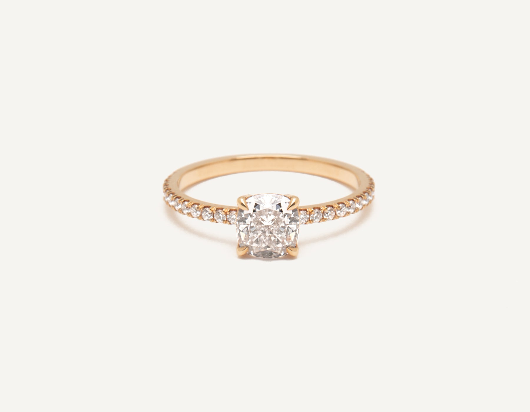 Minimalist 18k solid rose gold The Cushion Pave engagement ring 1 ct diamond Vrai and Oro