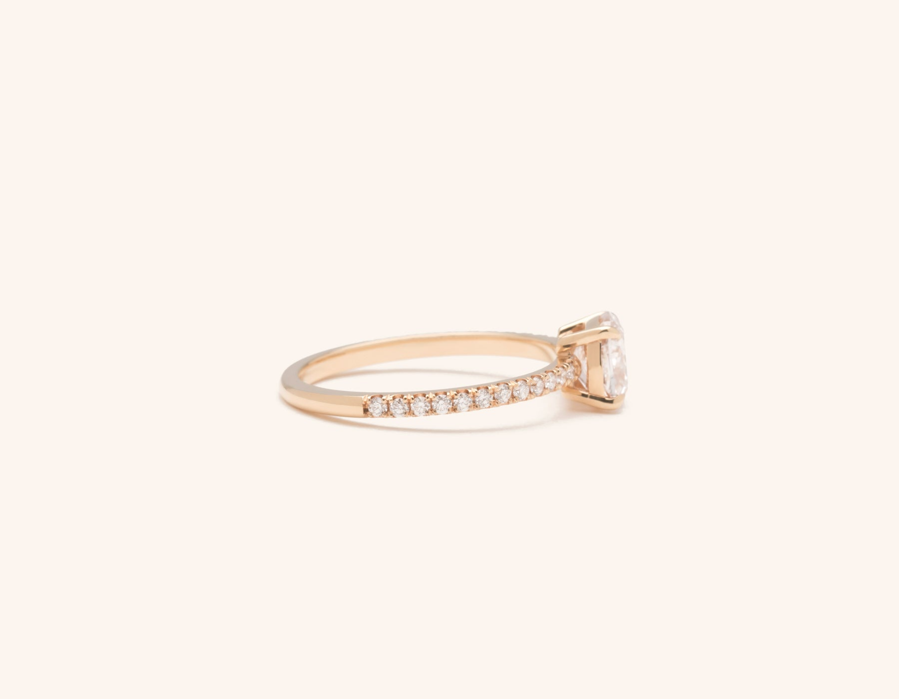 Simple modern 18k solid rose gold 1 carat Cushion pave diamond engagement ring Vrai & Oro