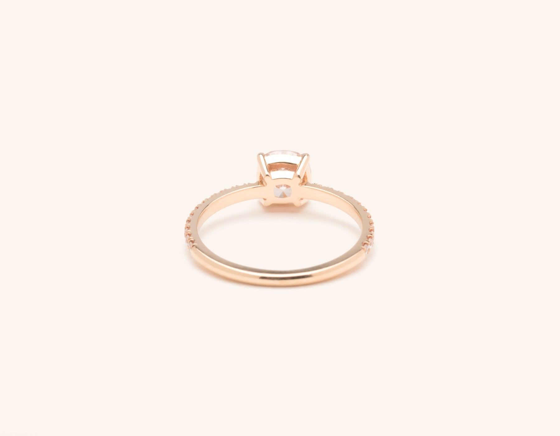 Vrai & Oro 18k solid rose gold Diamond engagement ring The Cushion pave simple classic band