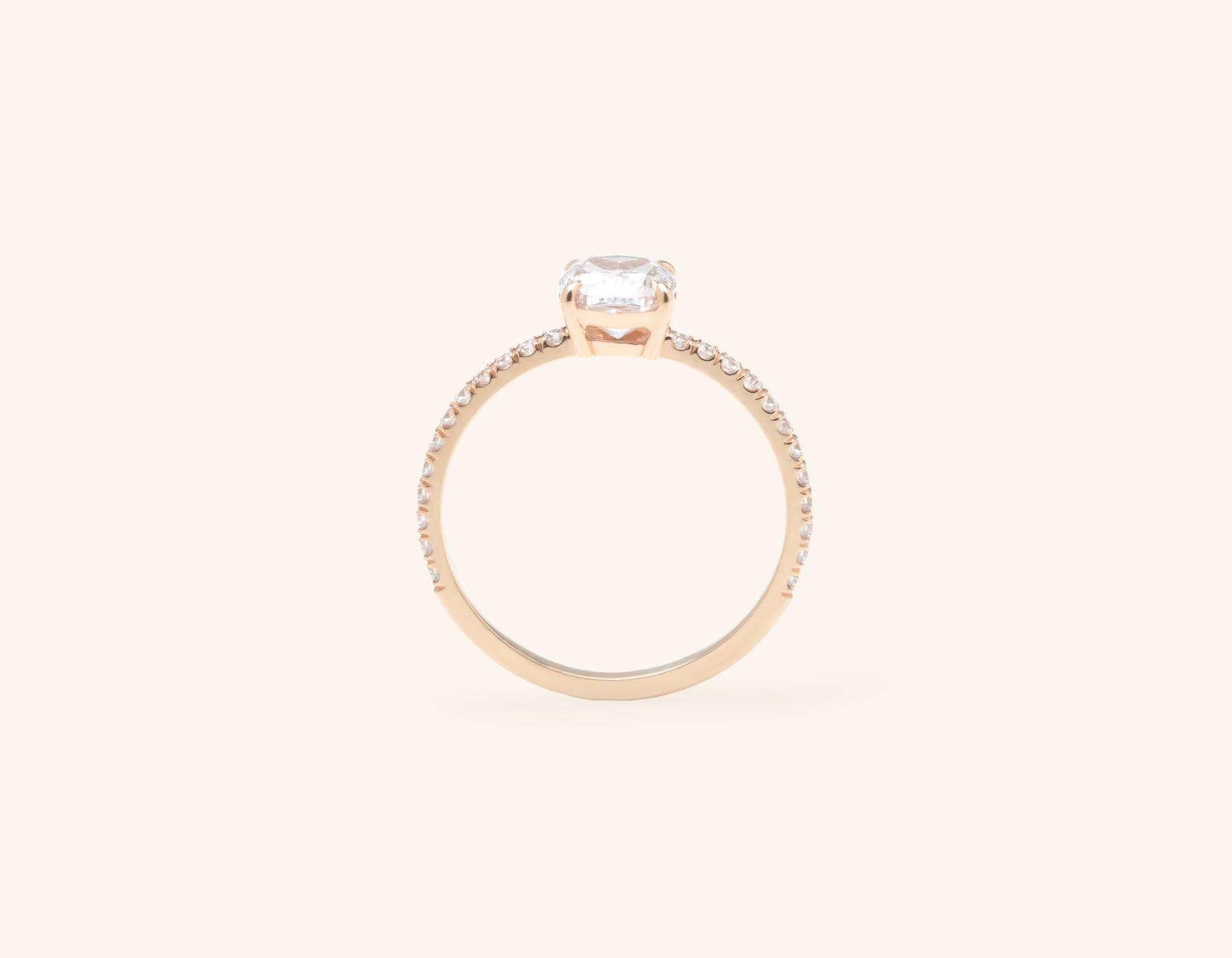 Vrai and Oro modern classic The Cushion pave diamond engagement ring 18k solid rose gold sustainable jewelry