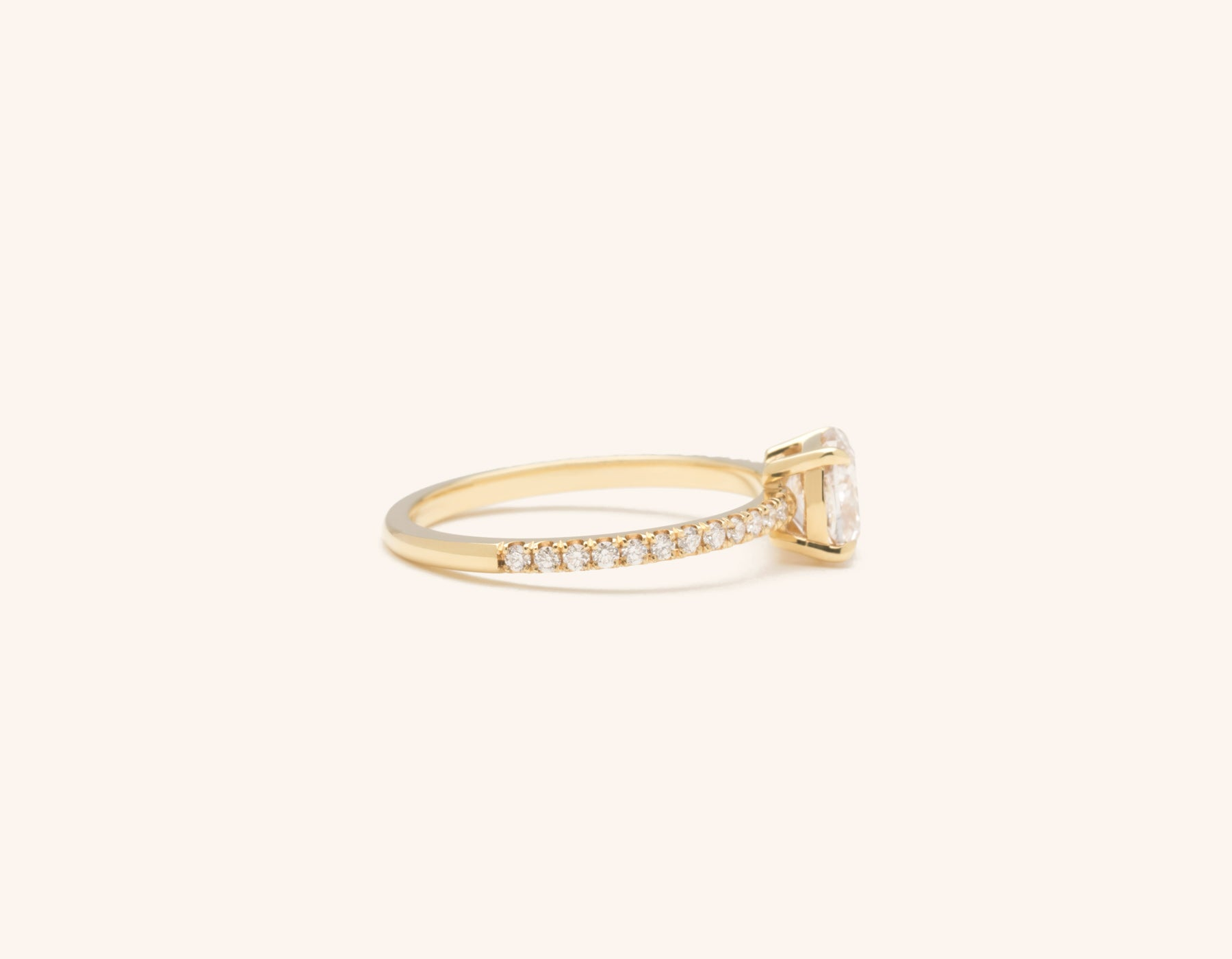 Simple modern 18k solid yellow gold 1 carat Cushion pave diamond engagement ring Vrai & Oro
