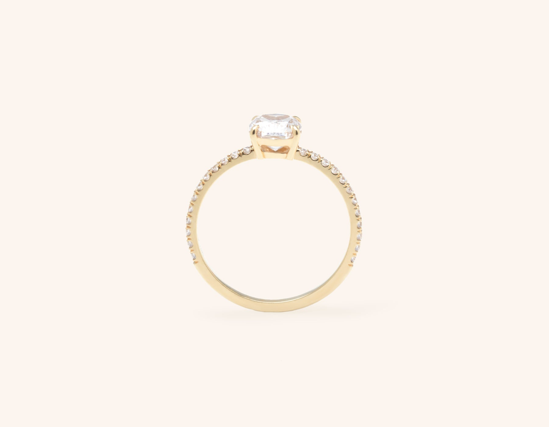 Vrai and Oro modern classic The Cushion pave diamond engagement ring 18k solid yellow gold sustainable jewelry