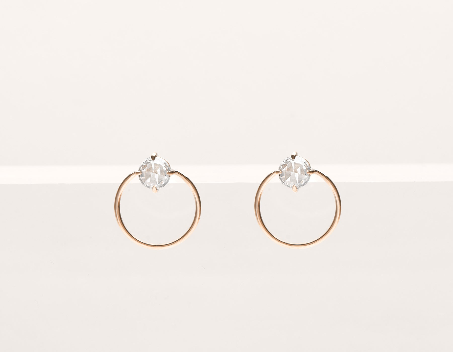 Modern minimalist 18k solid gold rose cut Diamond Door Knocker stud front facing circle hoops earrings by Vrai & Oro black label, 18K Rose Gold