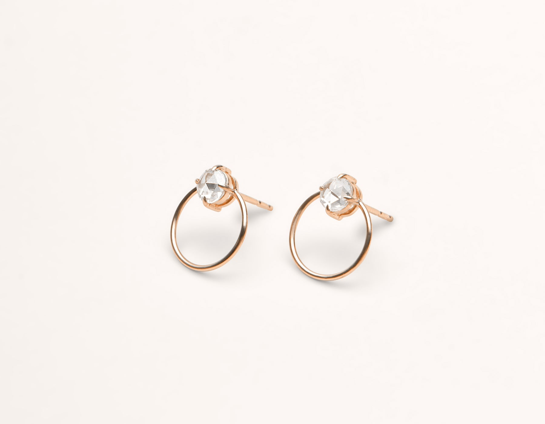 simple classic 18k solid gold .5 carat round Diamond Door Knocker hoop earring stud by Vrai and Oro black label minimalist jewelry, 18K Rose Gold