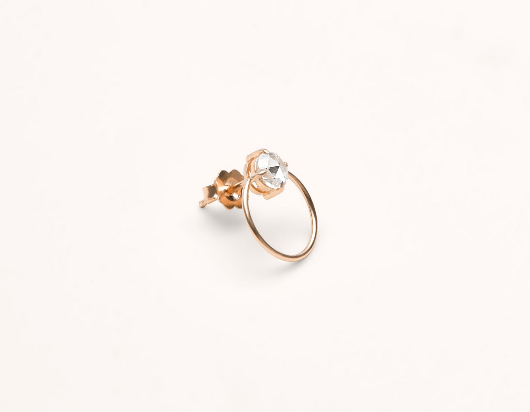 Unique minimalist 18k solid gold small Diamond Door Knocker studs hoop earring by Vrai & Oro black label sustainable jewelry, 18K Rose Gold