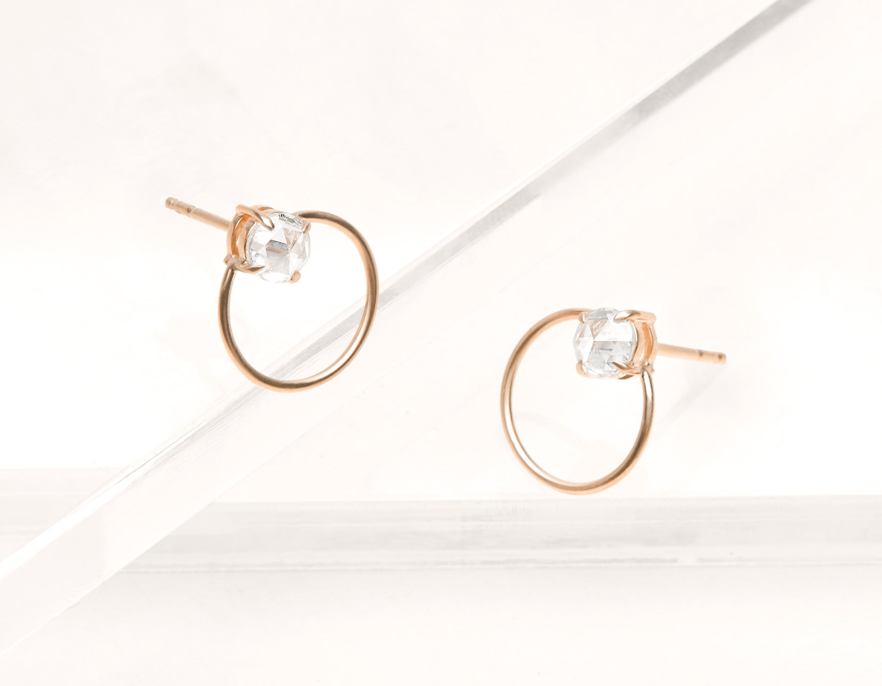 Minimalist elegant 18k solid gold rose cut Diamond Door Knock Studs hoop earring Vrai & Oro black label, 18K Rose Gold