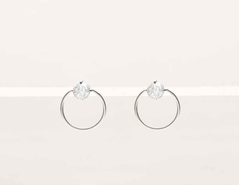 Modern minimalist 18k solid gold rose cut Diamond Door Knocker stud front facing circle hoops earrings by Vrai & Oro black label, 18K White Gold