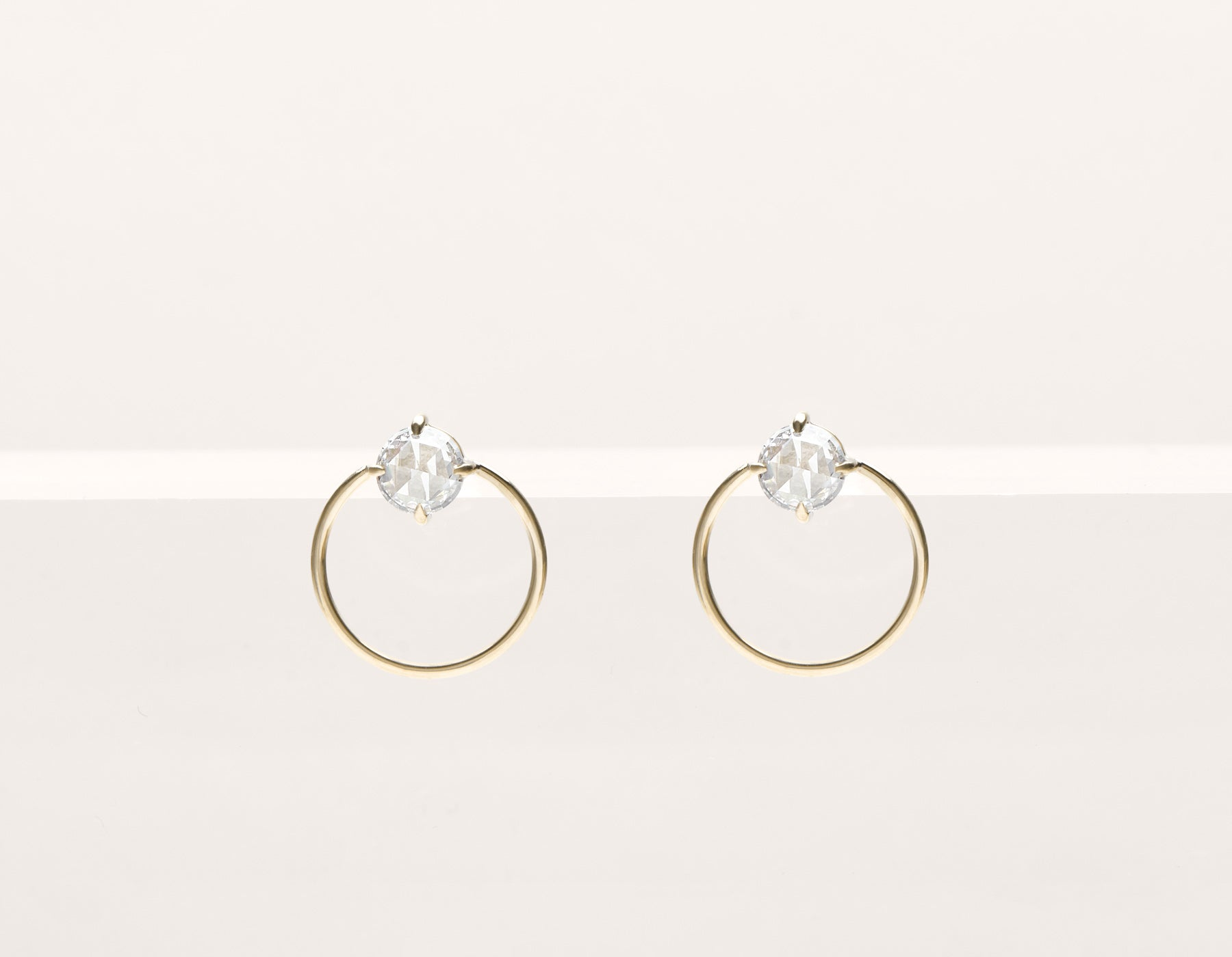 Modern minimalist 18k solid gold rose cut Diamond Door Knocker stud front facing circle hoops earrings by Vrai & Oro black label, 18K Yellow Gold
