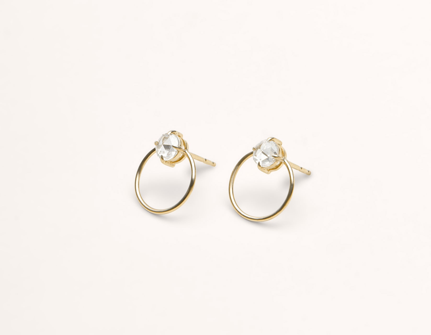 simple classic 18k solid gold .5 carat round Diamond Door Knocker hoop earring stud by Vrai and Oro black label minimalist jewelry, 18K Yellow Gold