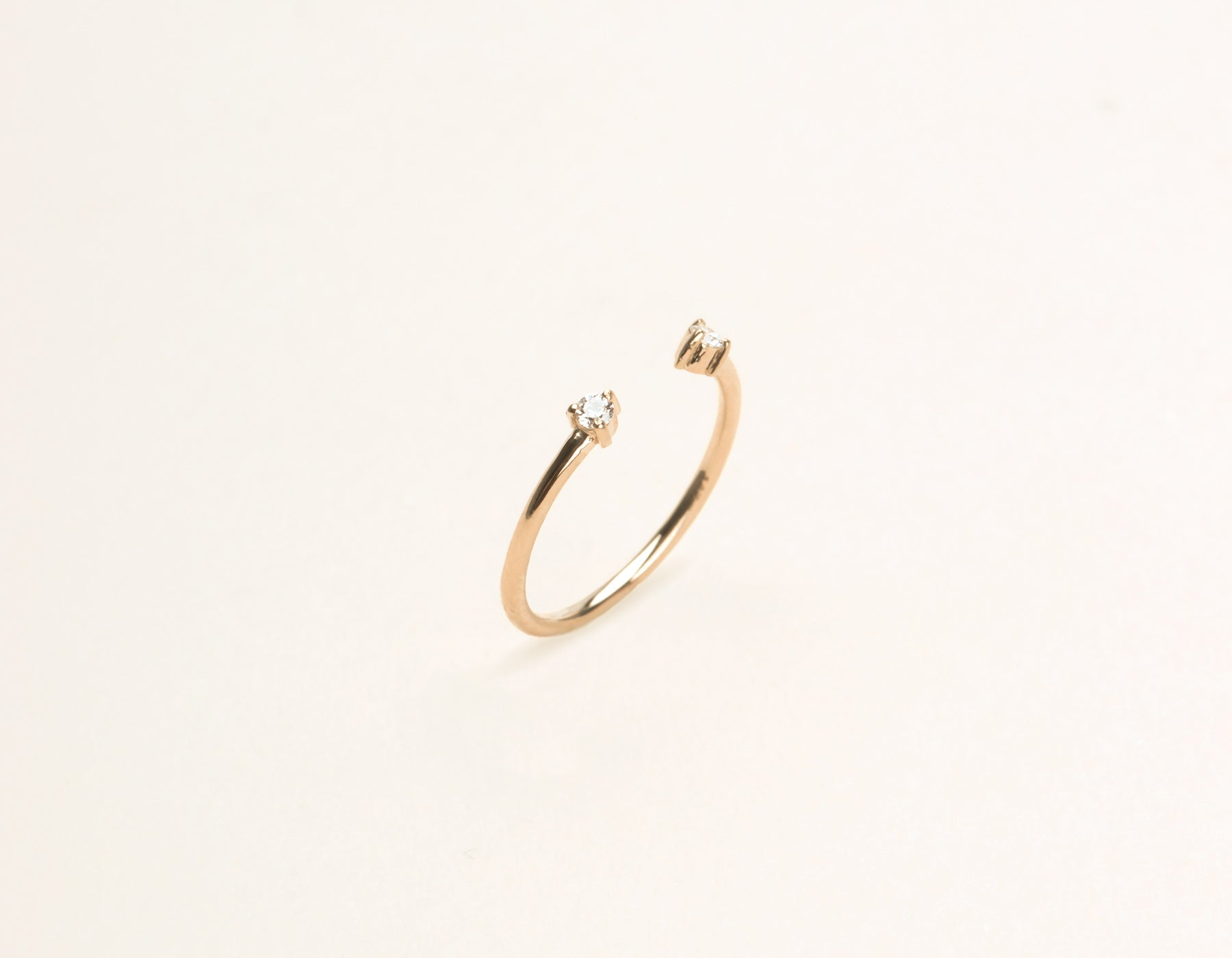 Simple modern 14k solid gold Diamond Dot Cuff stacking ring by Vrai & Oro, 14K Rose Gold