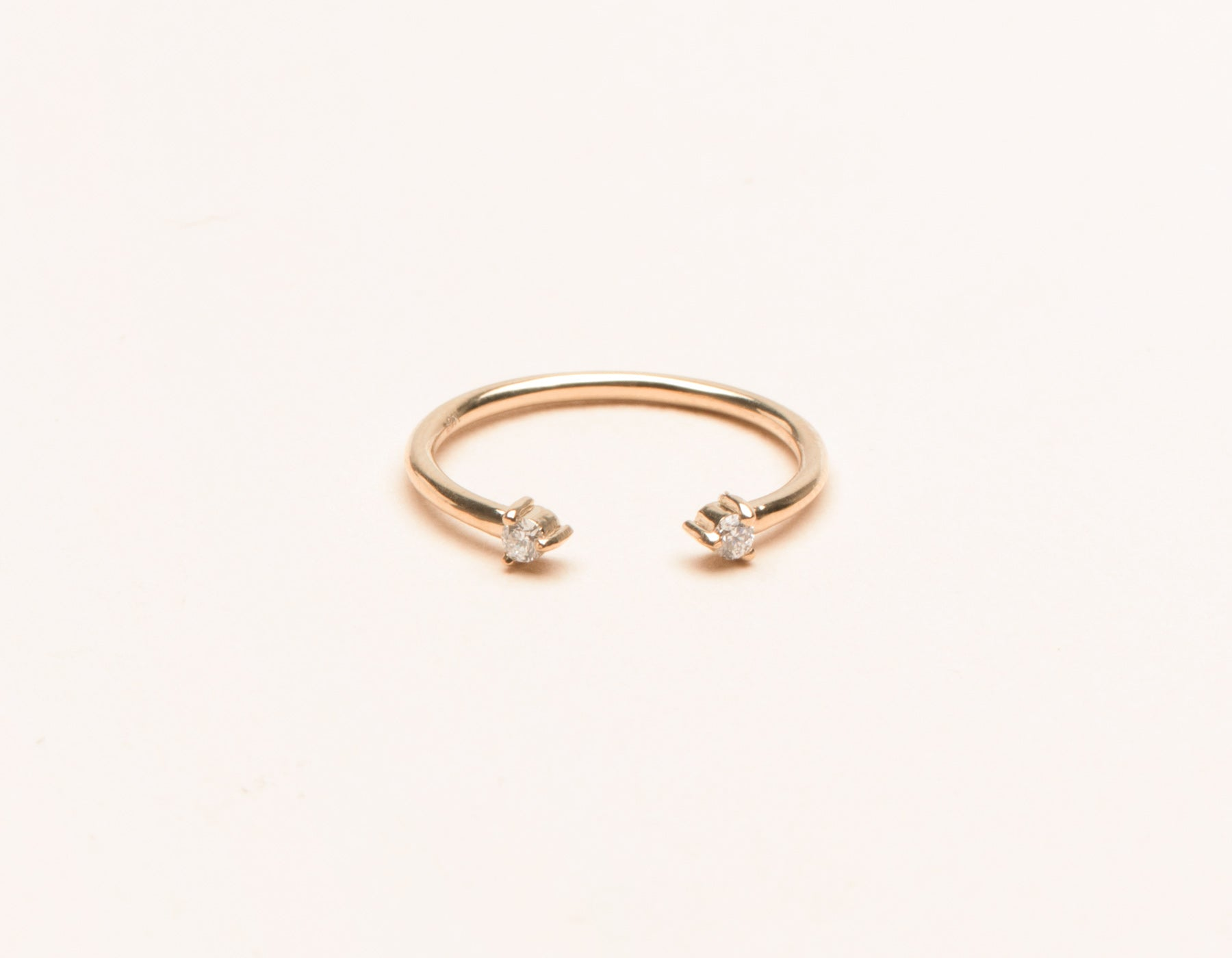 Classic minimalist 14k solid gold small Diamond Dot Cuff stacker ring by Vrai and Oro, 14K Rose Gold
