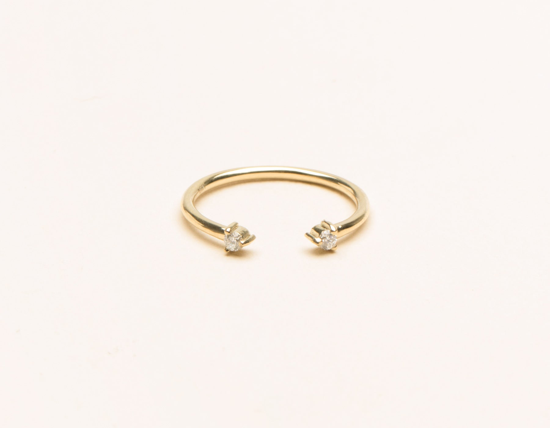Classic minimalist 14k solid gold small Diamond Dot Cuff stacker ring by Vrai and Oro, 14K Yellow Gold