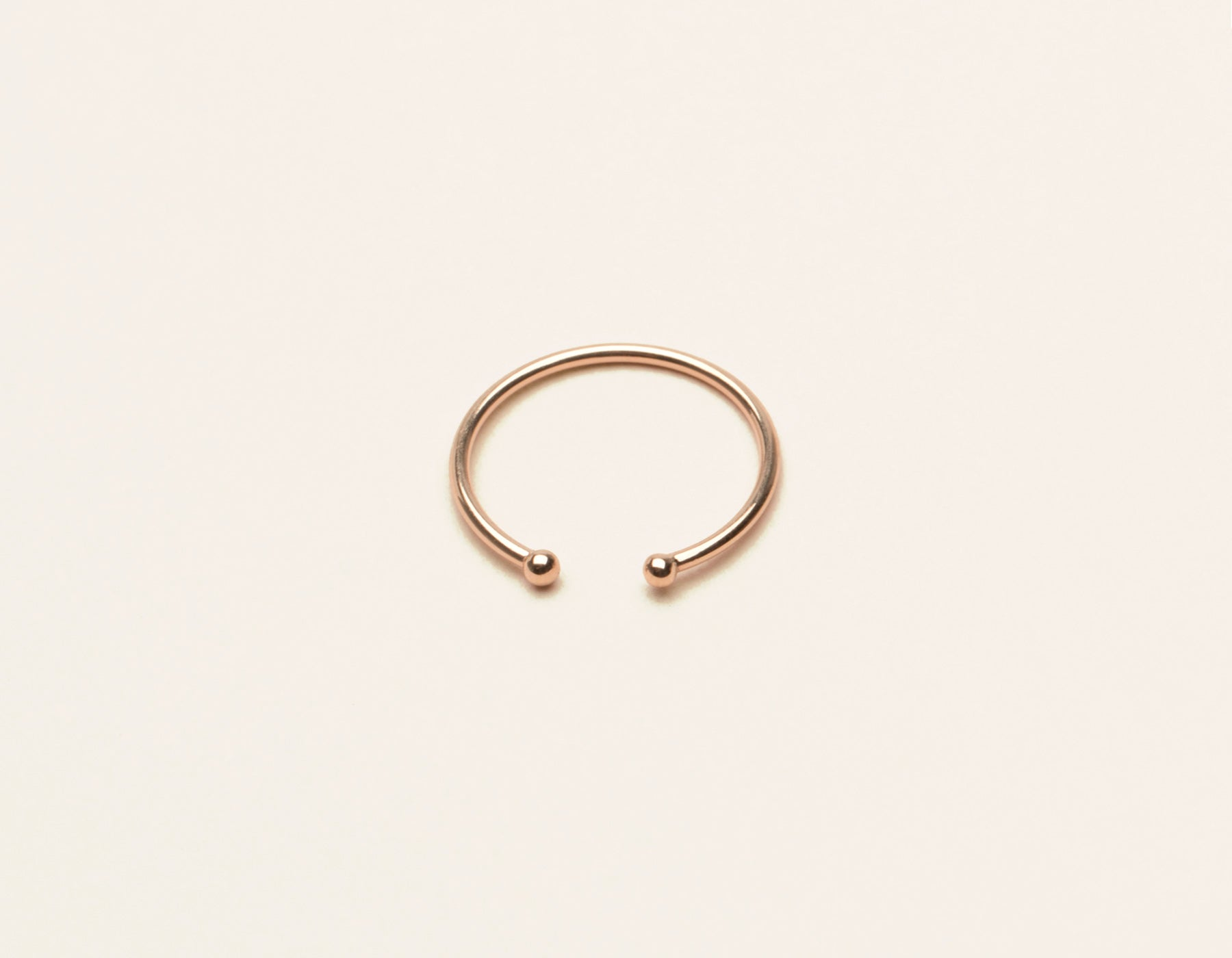 Simple modern 14k solid gold Dot Cuff Ring by Vrai and Oro minimalist jewelry, 14K Rose Gold