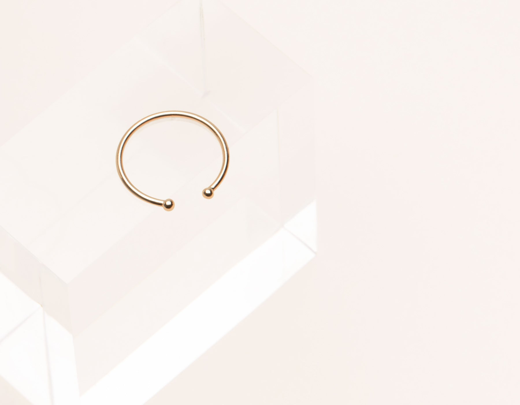 Delicate elegant 14k solid gold Dot Cuff stacking ring by Vrai & Oro minimalist jewelry, 14K Rose Gold