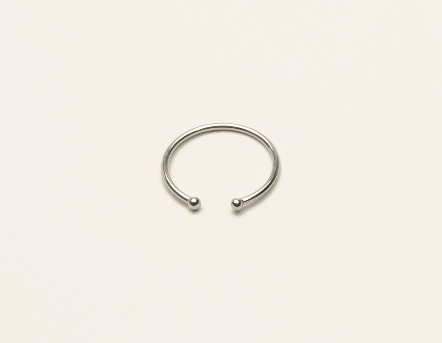 Simple modern 14k solid gold Dot Cuff Ring by Vrai and Oro minimalist jewelry, 14K White Gold