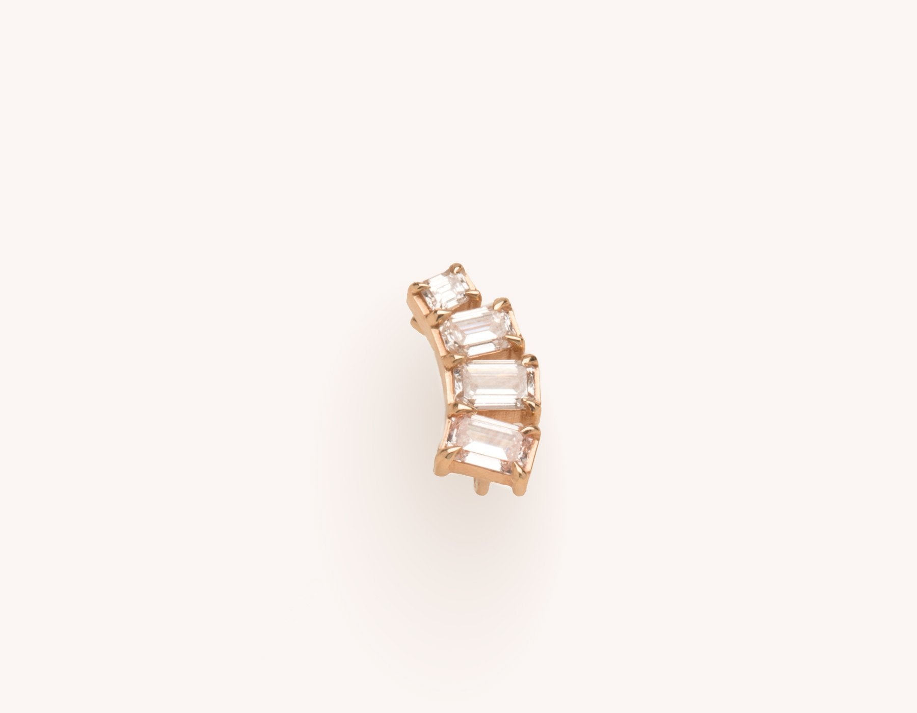 Modern asymmetical 14k solid gold .75 carat Emerald Diamond Arc Earring cuff by Vrai & Oro, 14K Rose Gold
