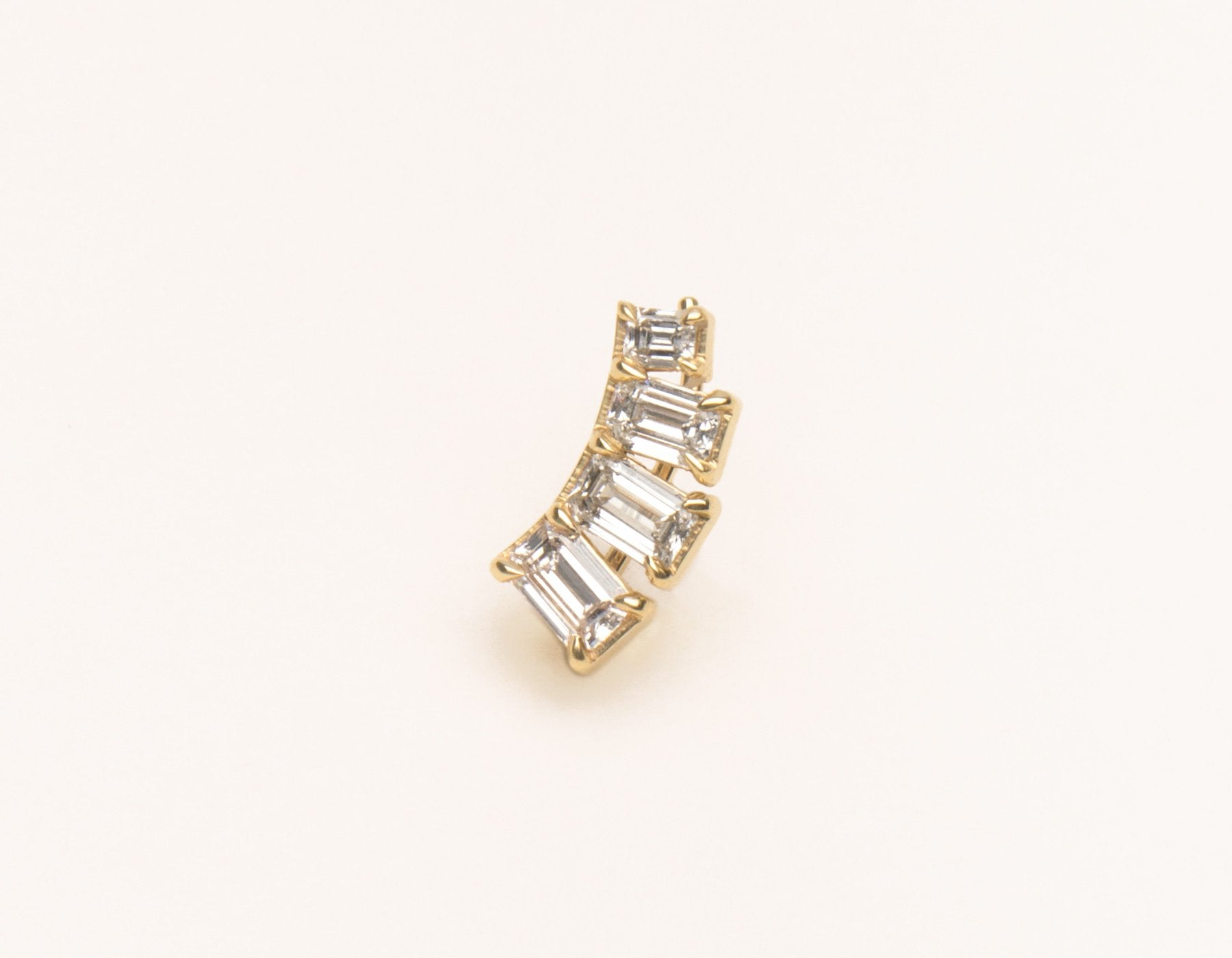 Simple Classic 14k solid gold Emerald cut Diamond Arc Earring cuff by Vrai and Oro, 14K Yellow Gold